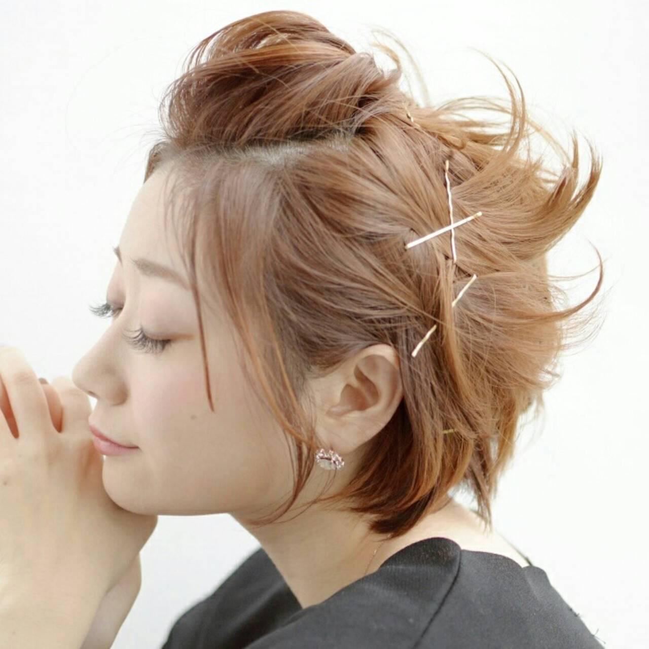 簡単ヘアアレンジ アッシュ ポンパドール ヘアピンヘアスタイルや髪型の写真・画像