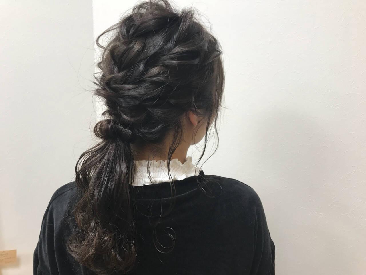 セミロング 冬 結婚式 ヘアアレンジヘアスタイルや髪型の写真・画像