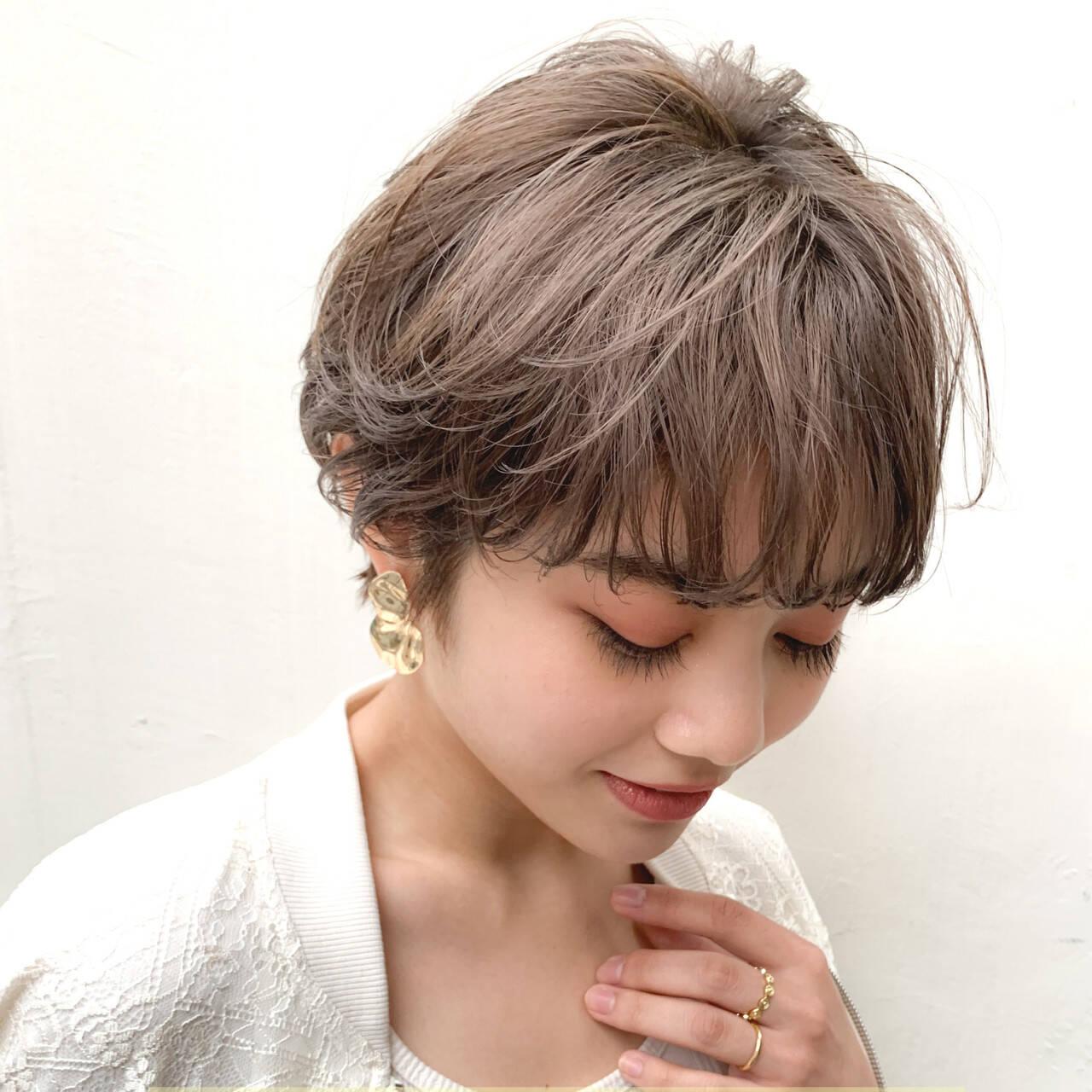 オーガニックカラー マッシュショート ショート ナチュラルヘアスタイルや髪型の写真・画像