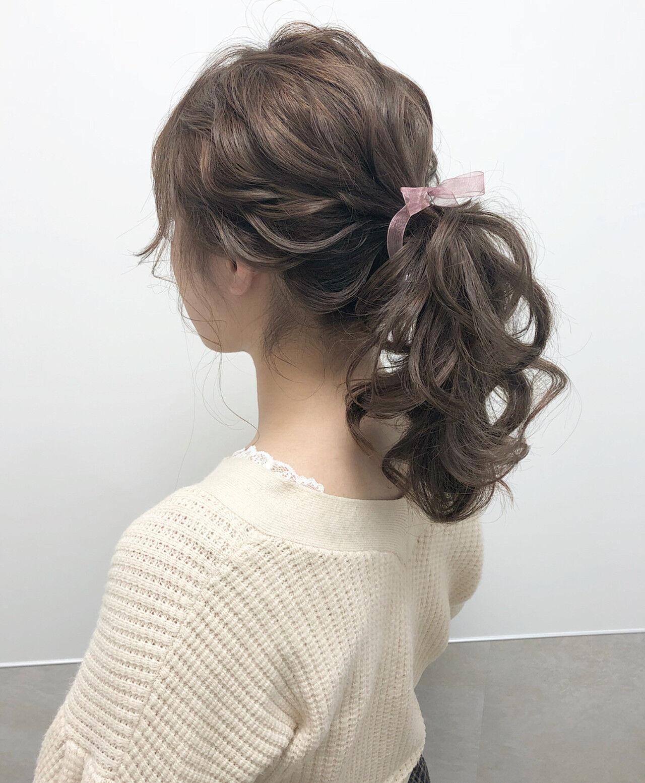 ロング ハイトーン ポニーテール 大人可愛いヘアスタイルや髪型の写真・画像