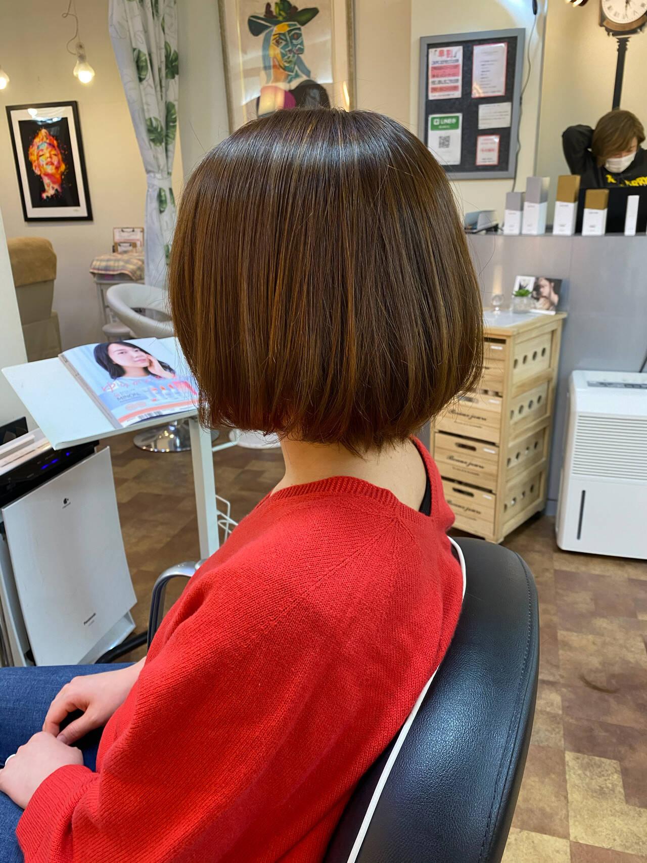 ナチュラル 縮毛矯正 ボブ 縮毛矯正ストカールヘアスタイルや髪型の写真・画像