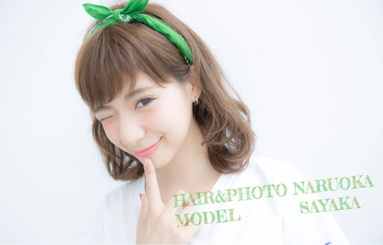 ミディアム 簡単ヘアアレンジ バンダナ ストリートヘアスタイルや髪型の写真・画像