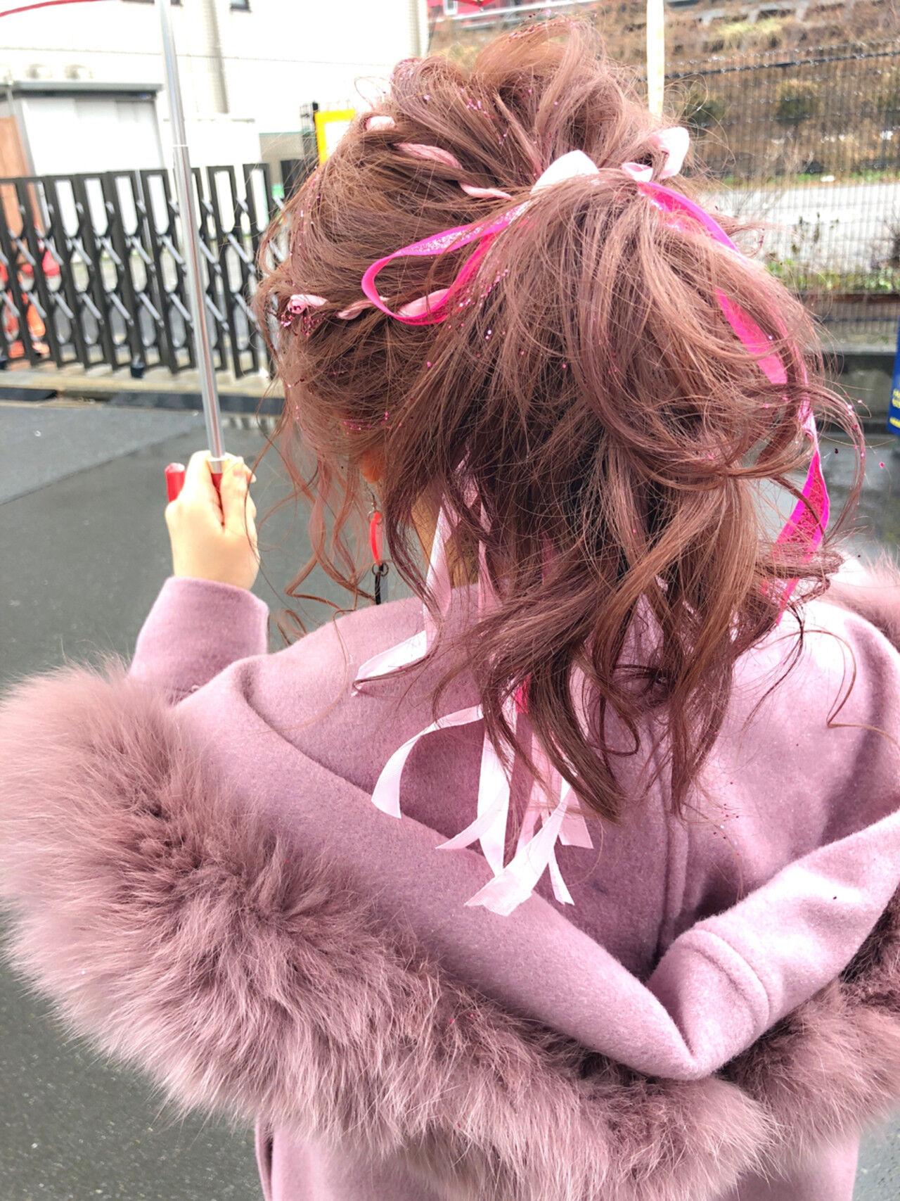 愛され ミディアム 謝恩会 簡単ヘアアレンジヘアスタイルや髪型の写真・画像