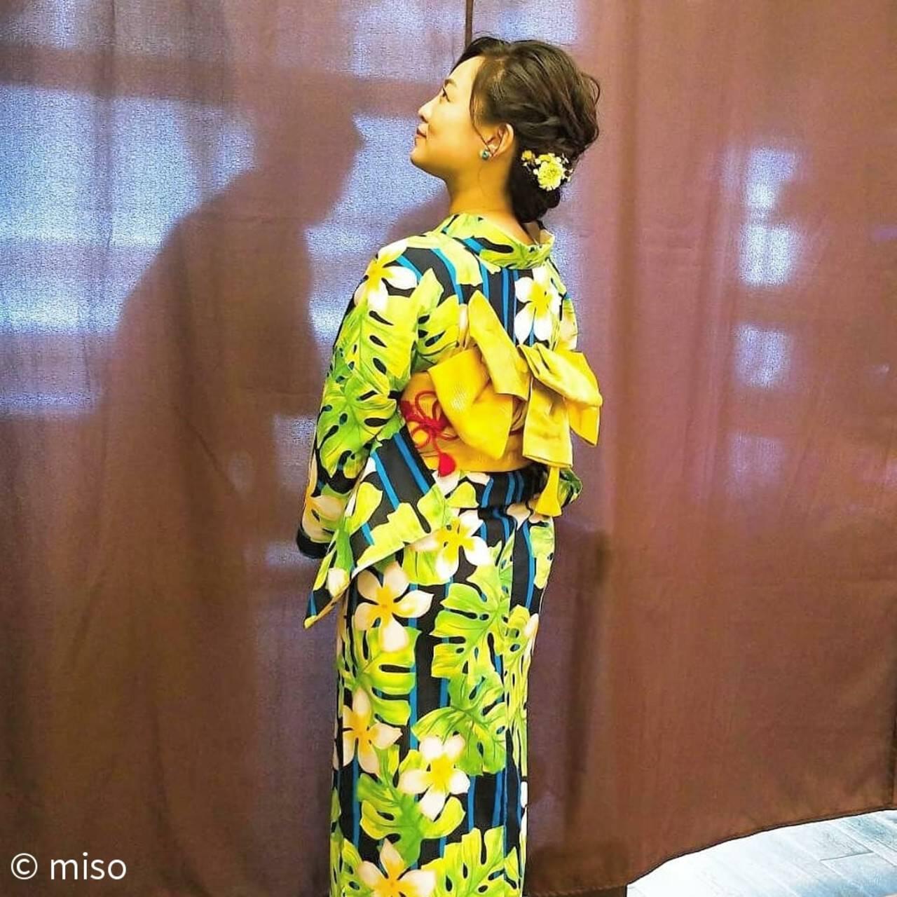 花火大会 和装 フェミニン 夏ヘアスタイルや髪型の写真・画像