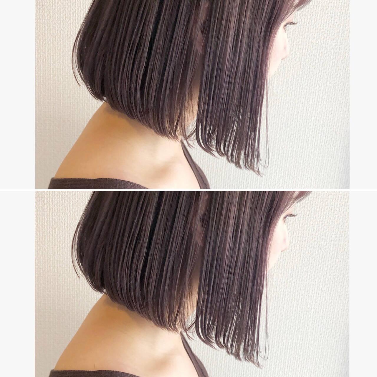 髪質改善 ラベンダーアッシュ ミニボブ モードヘアスタイルや髪型の写真・画像