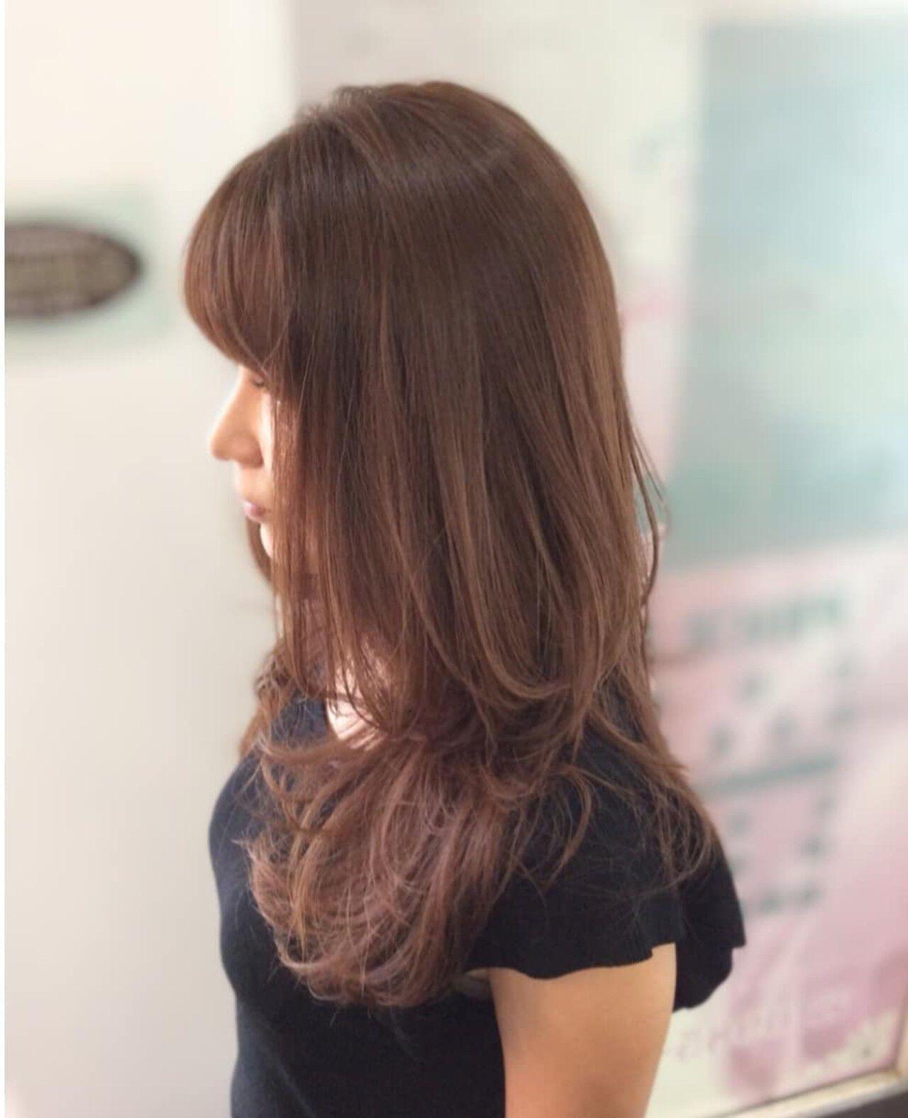 ブラウン ナチュラル セミロング ブラウンベージュヘアスタイルや髪型の写真・画像