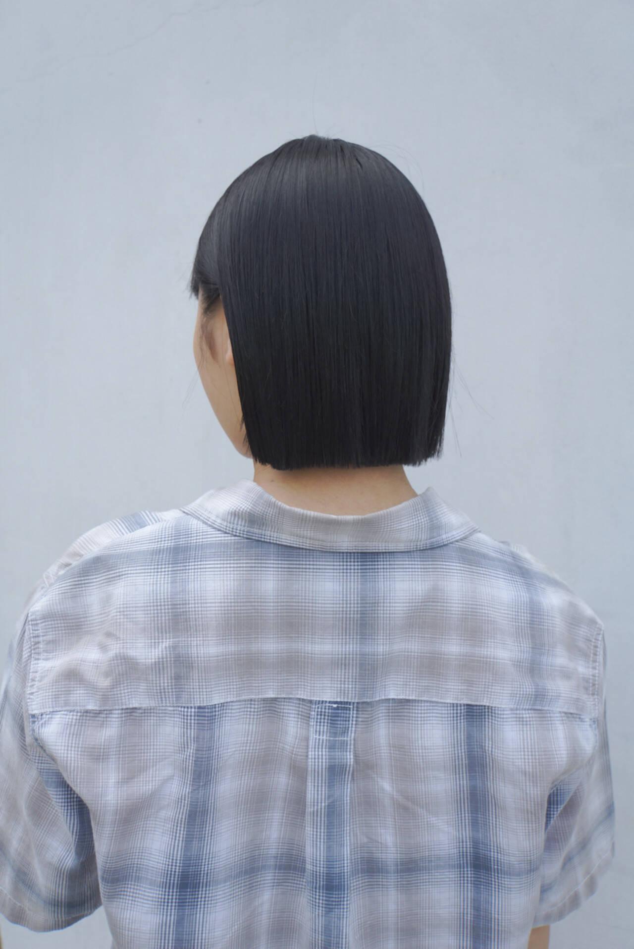 ショートボブ ボブ 切りっぱなしボブ ナチュラルヘアスタイルや髪型の写真・画像