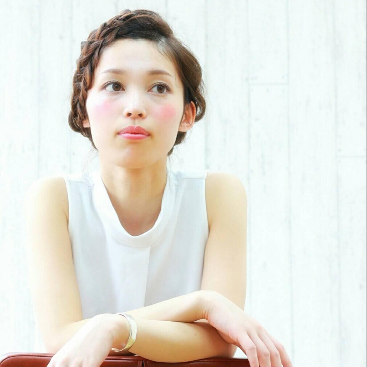 セミロング ヘアアレンジ 夏 大人かわいいヘアスタイルや髪型の写真・画像