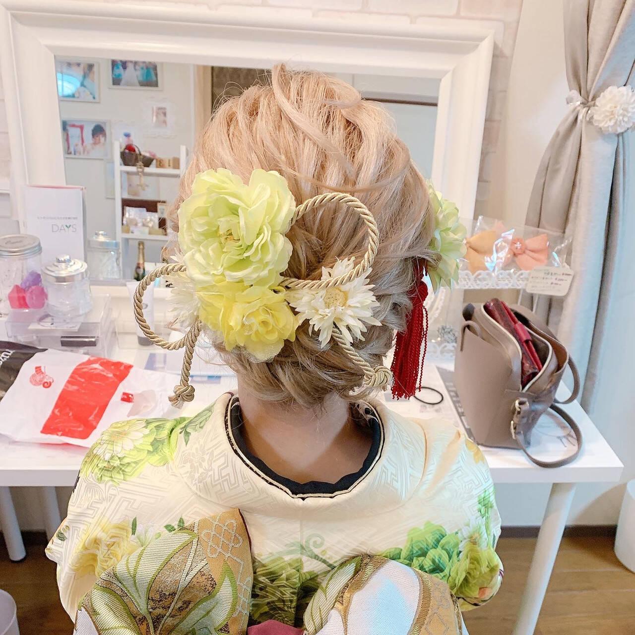 振袖ヘア エレガント 着物 成人式ヘアヘアスタイルや髪型の写真・画像