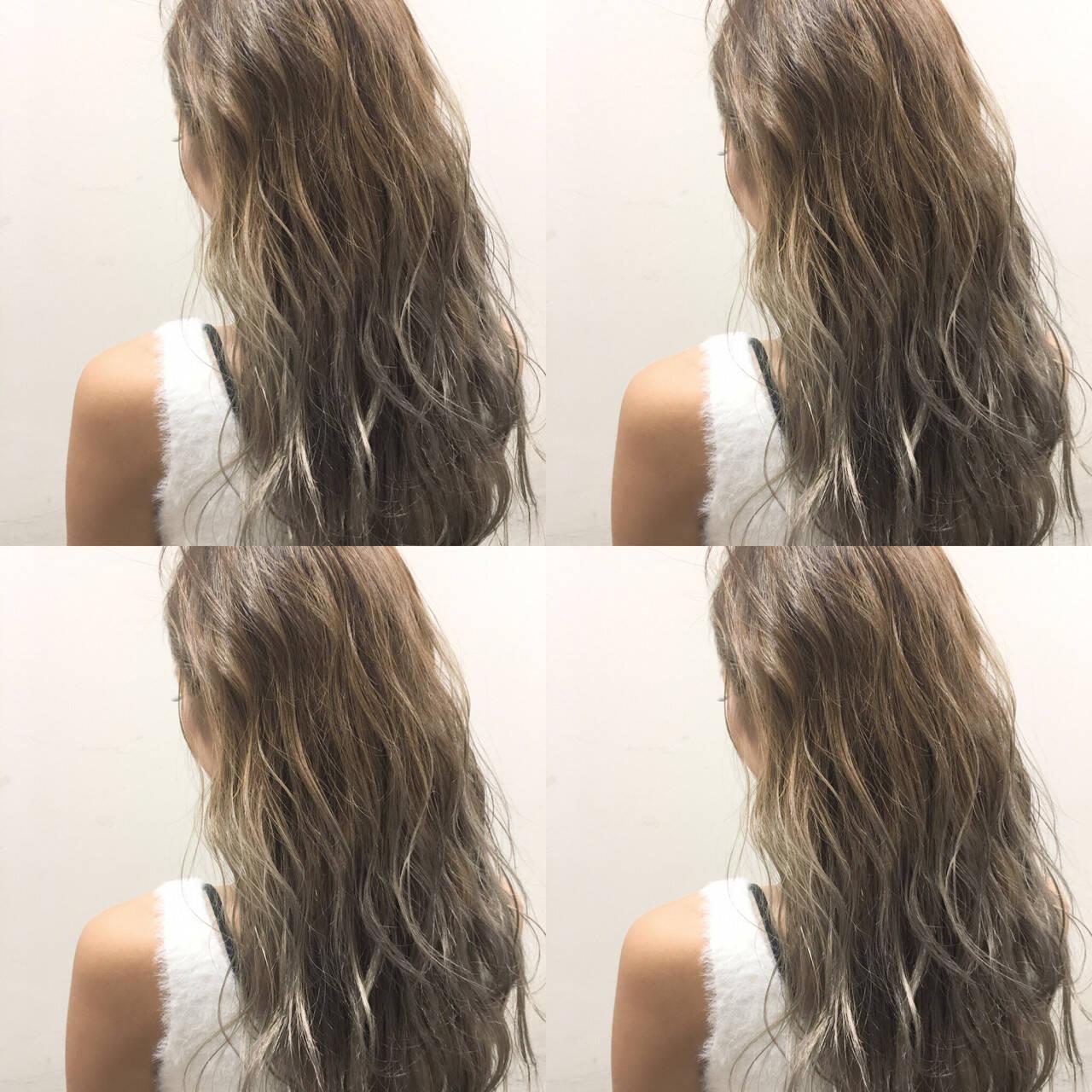 外国人風 ハイライト グラデーションカラー ロングヘアスタイルや髪型の写真・画像