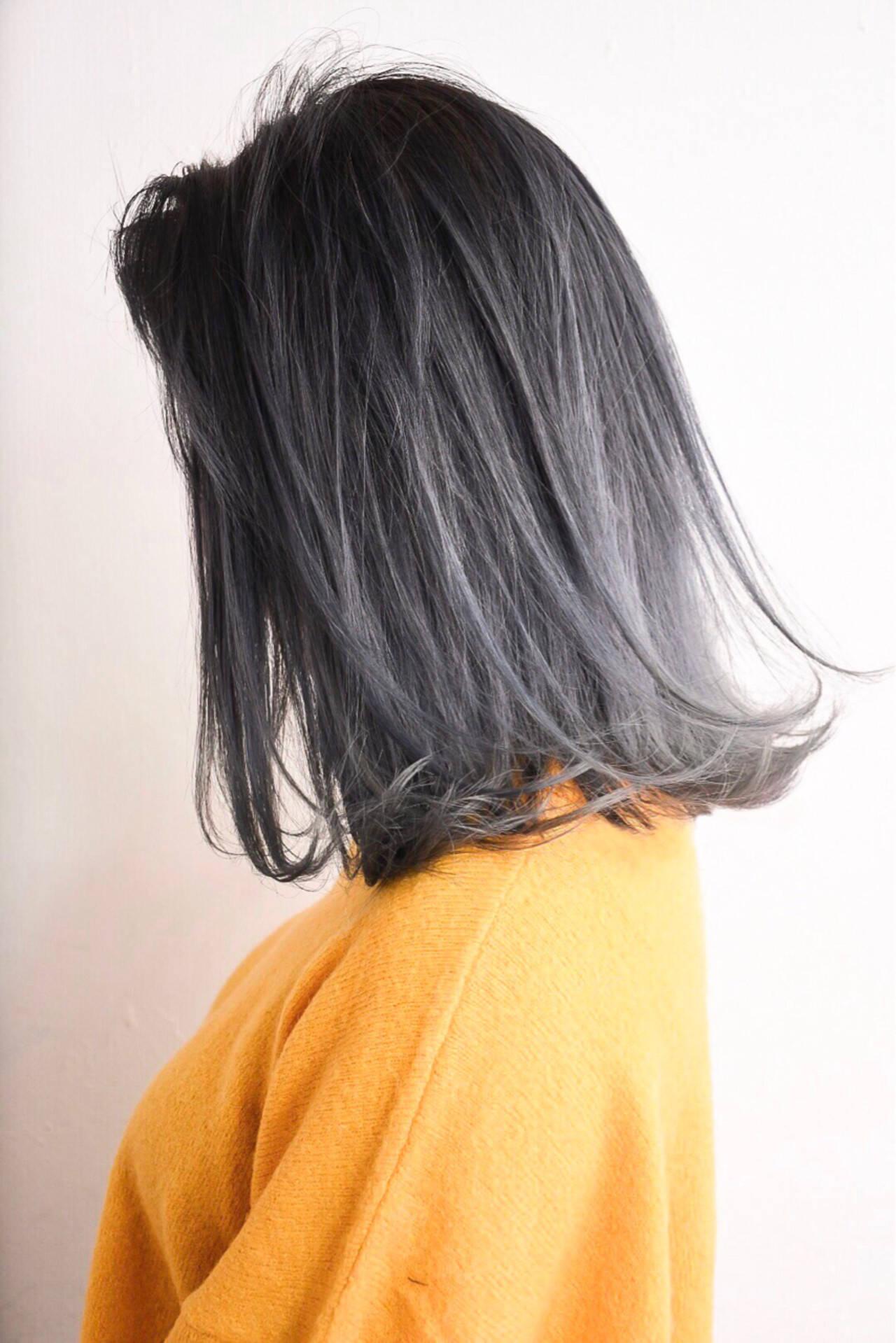 セミロング ストリート 外国人風カラー 外国人風ヘアスタイルや髪型の写真・画像