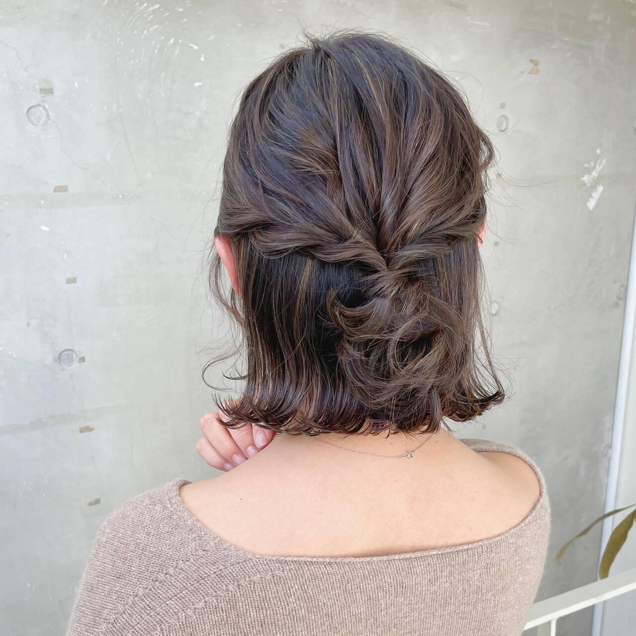 ハーフアップ ミニボブ エレガント 切りっぱなしボブヘアスタイルや髪型の写真・画像