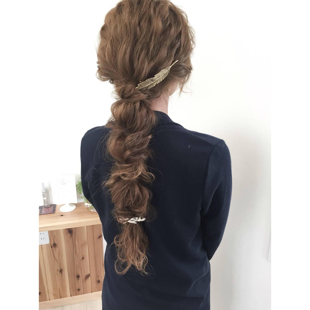 編み込み ショート ロング くるりんぱヘアスタイルや髪型の写真・画像