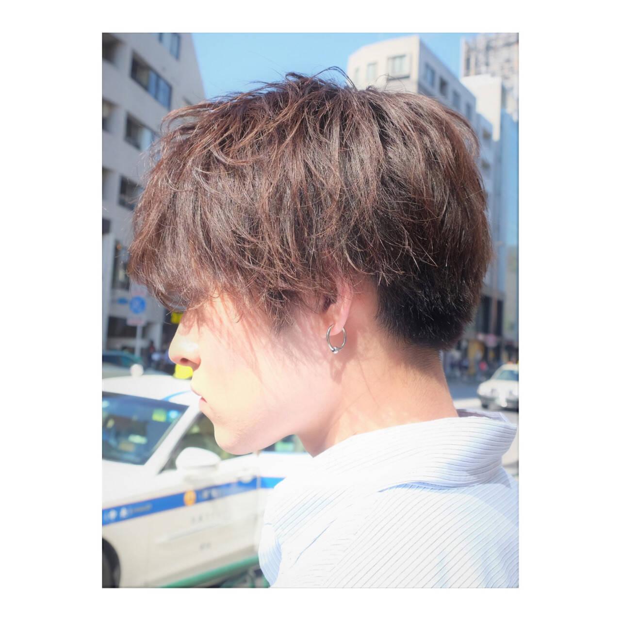 メンズスタイル メンズパーマ ナチュラル メンズマッシュヘアスタイルや髪型の写真・画像