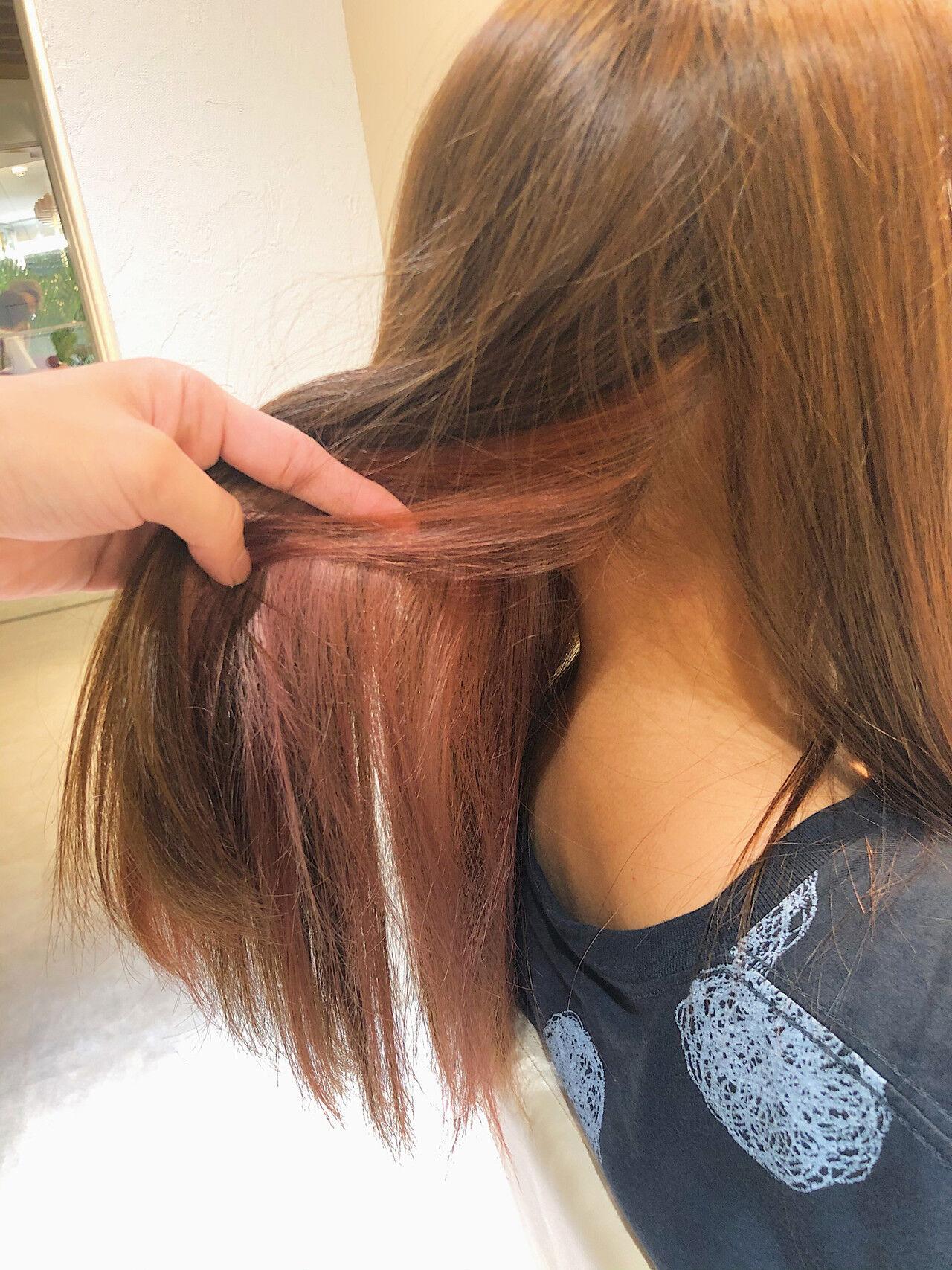 フェミニン #インナーカラー インナーカラーレッド インナーカラー赤ヘアスタイルや髪型の写真・画像