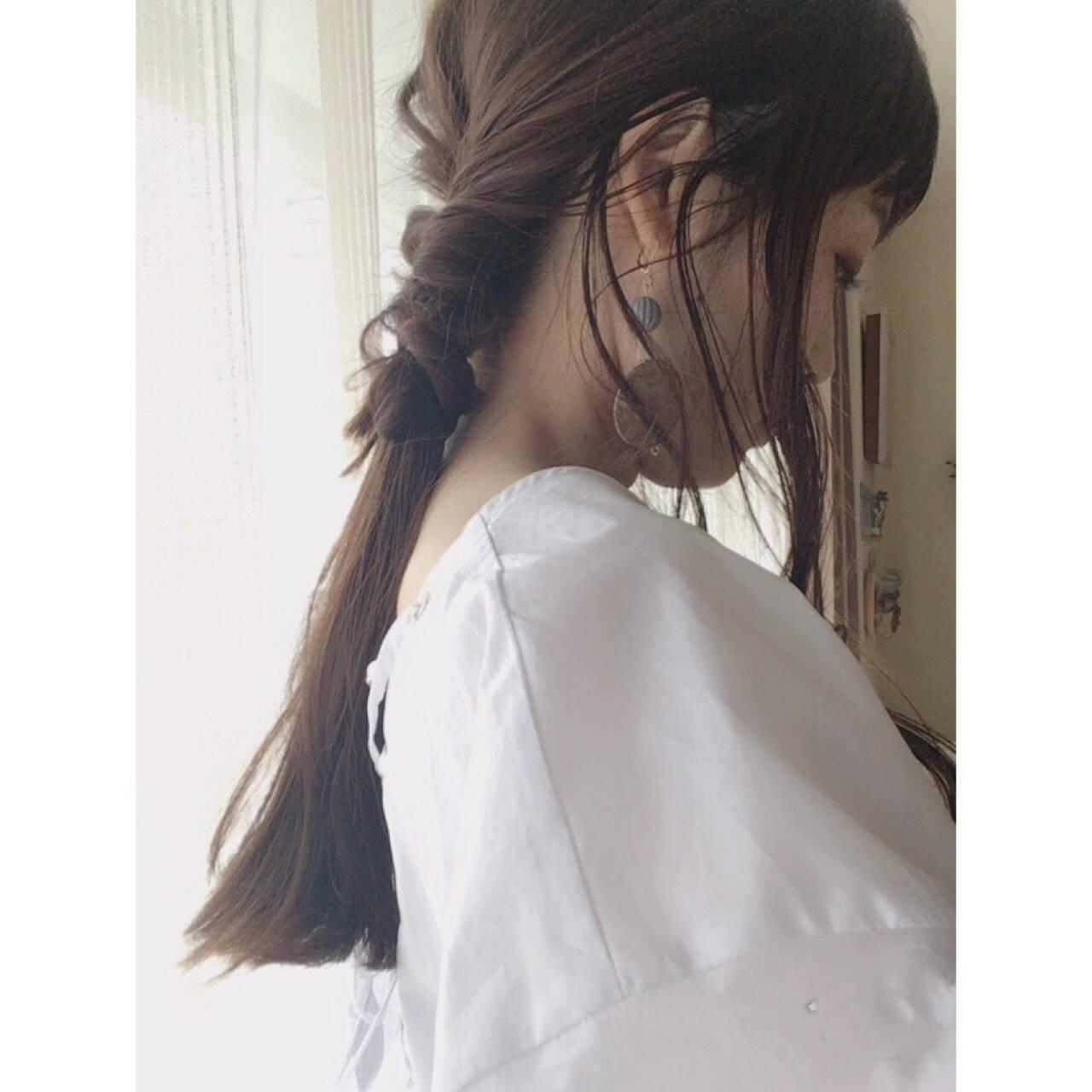くるりんぱ ショート ナチュラル ロングヘアスタイルや髪型の写真・画像