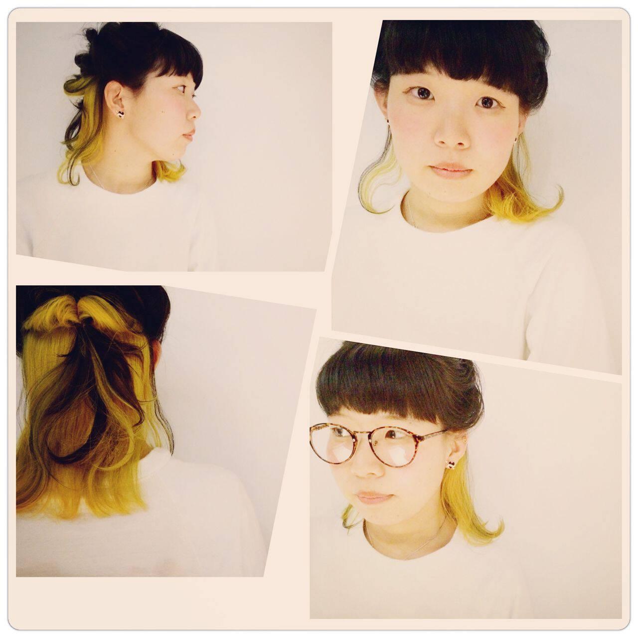 黒髪 オレンジ ガーリー アッシュヘアスタイルや髪型の写真・画像