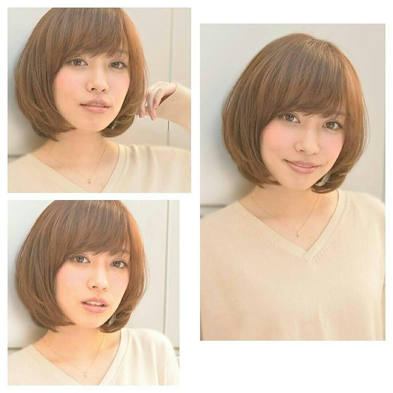 ショート 前髪あり ゆるふわ ブラウンヘアスタイルや髪型の写真・画像
