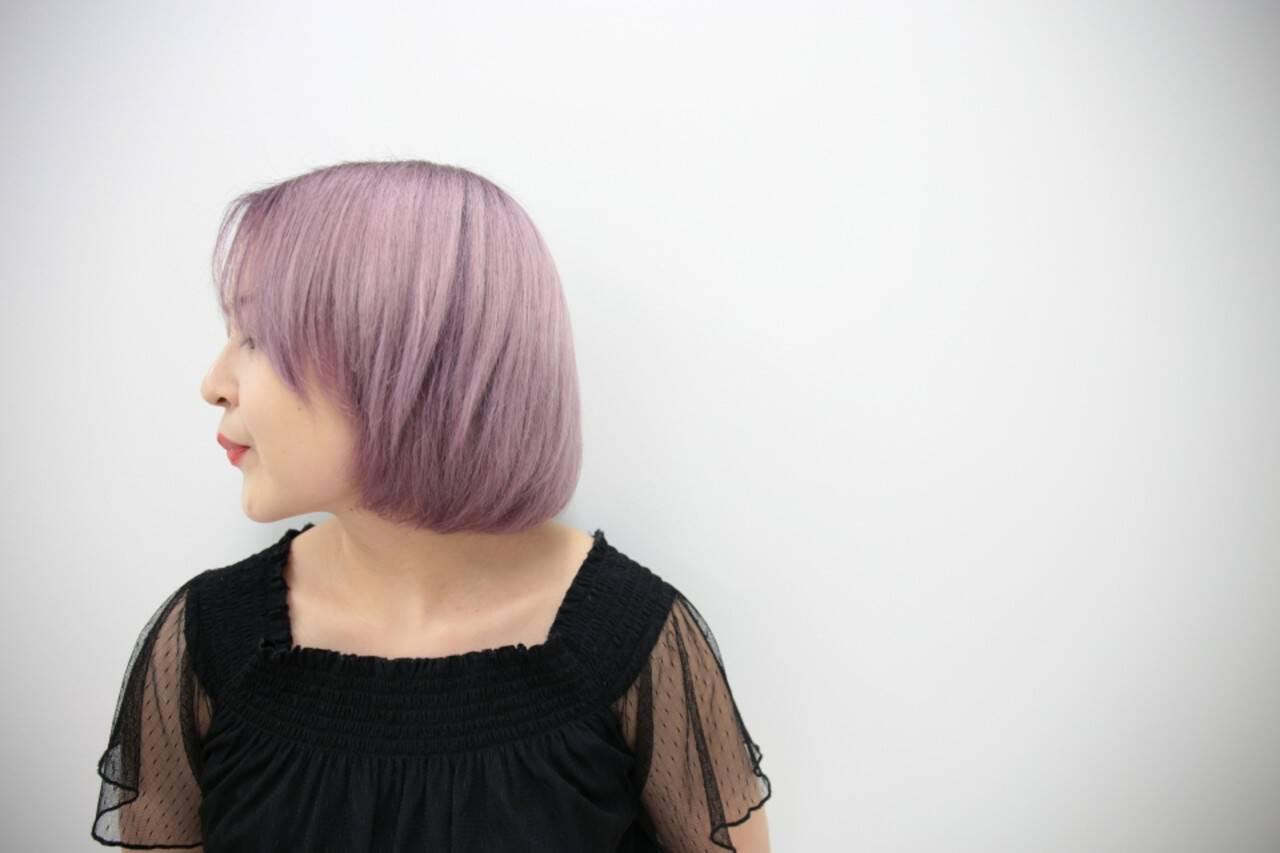ピンク ボブ ブリーチ ダブルカラーヘアスタイルや髪型の写真・画像