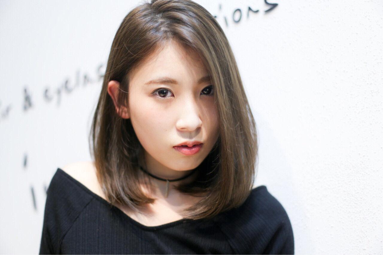 大人かわいい 外国人風 ハイライト ミディアムヘアスタイルや髪型の写真・画像