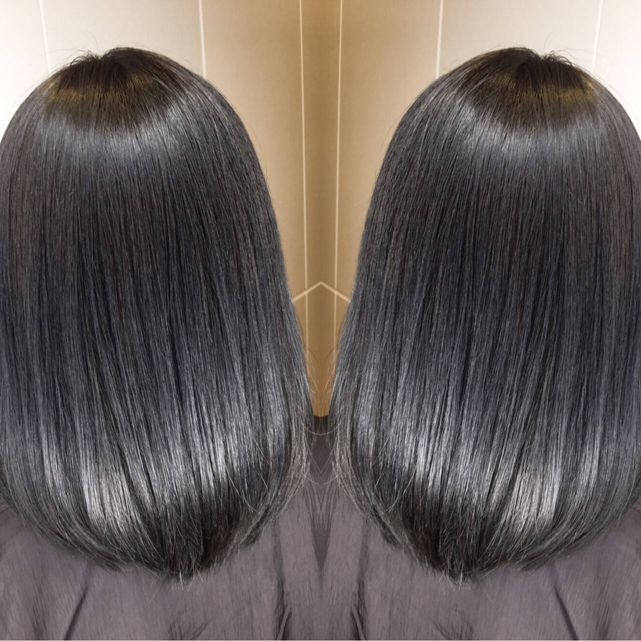ミディアム オフィス 黒髪 グレージュヘアスタイルや髪型の写真・画像