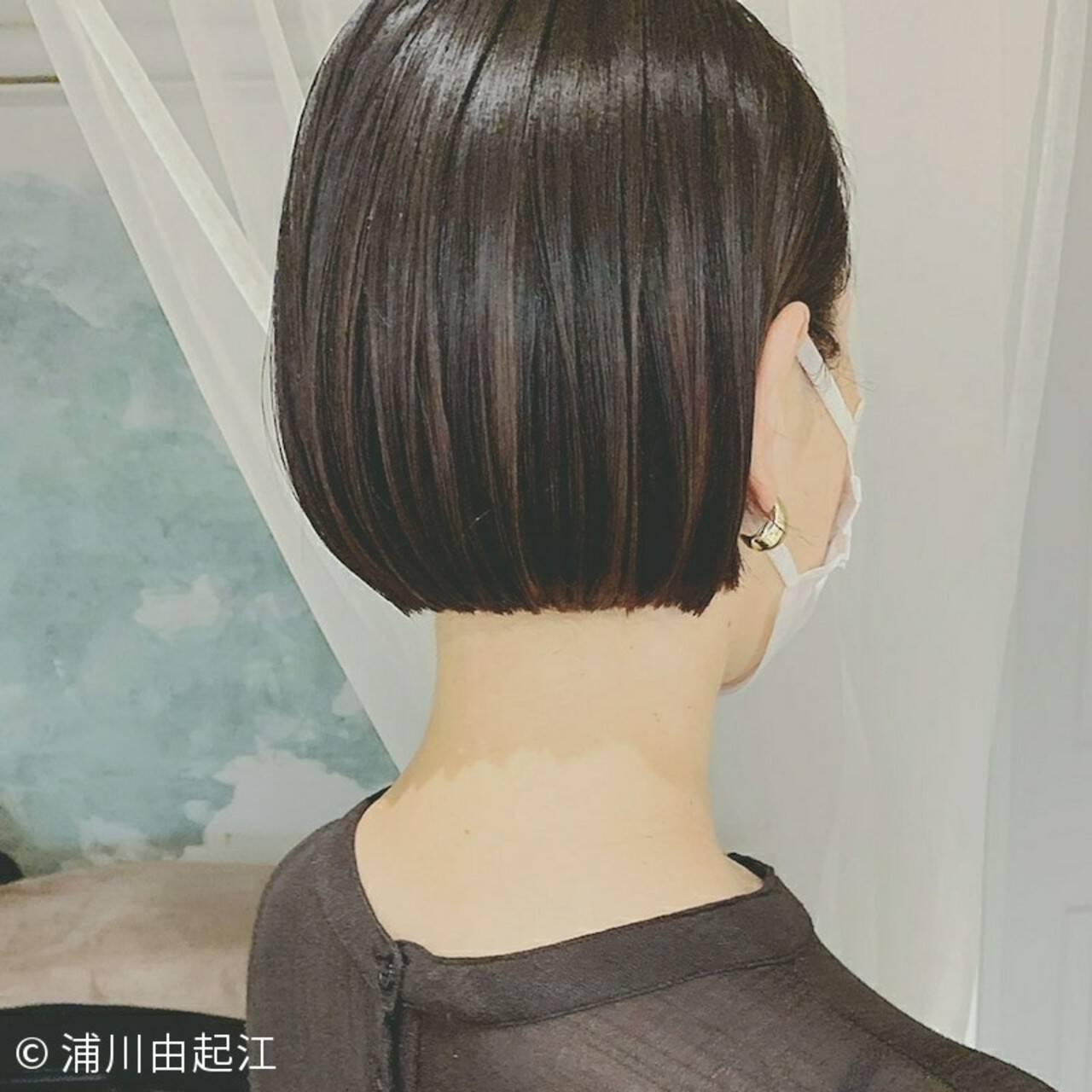 ミニボブ 縮毛矯正 ナチュラル 黒髪ヘアスタイルや髪型の写真・画像