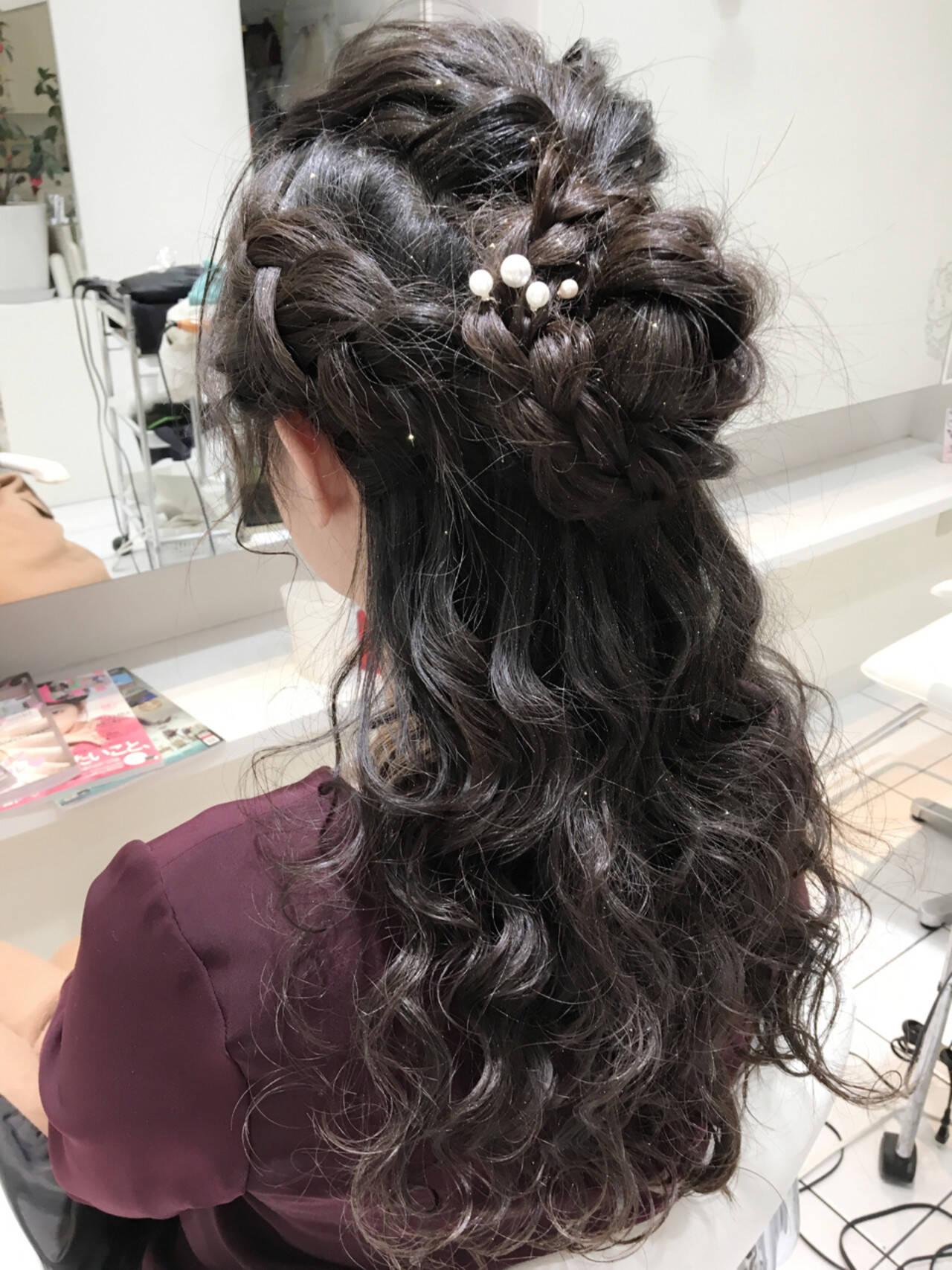 くるりんぱ ロング ショート ハーフアップヘアスタイルや髪型の写真・画像