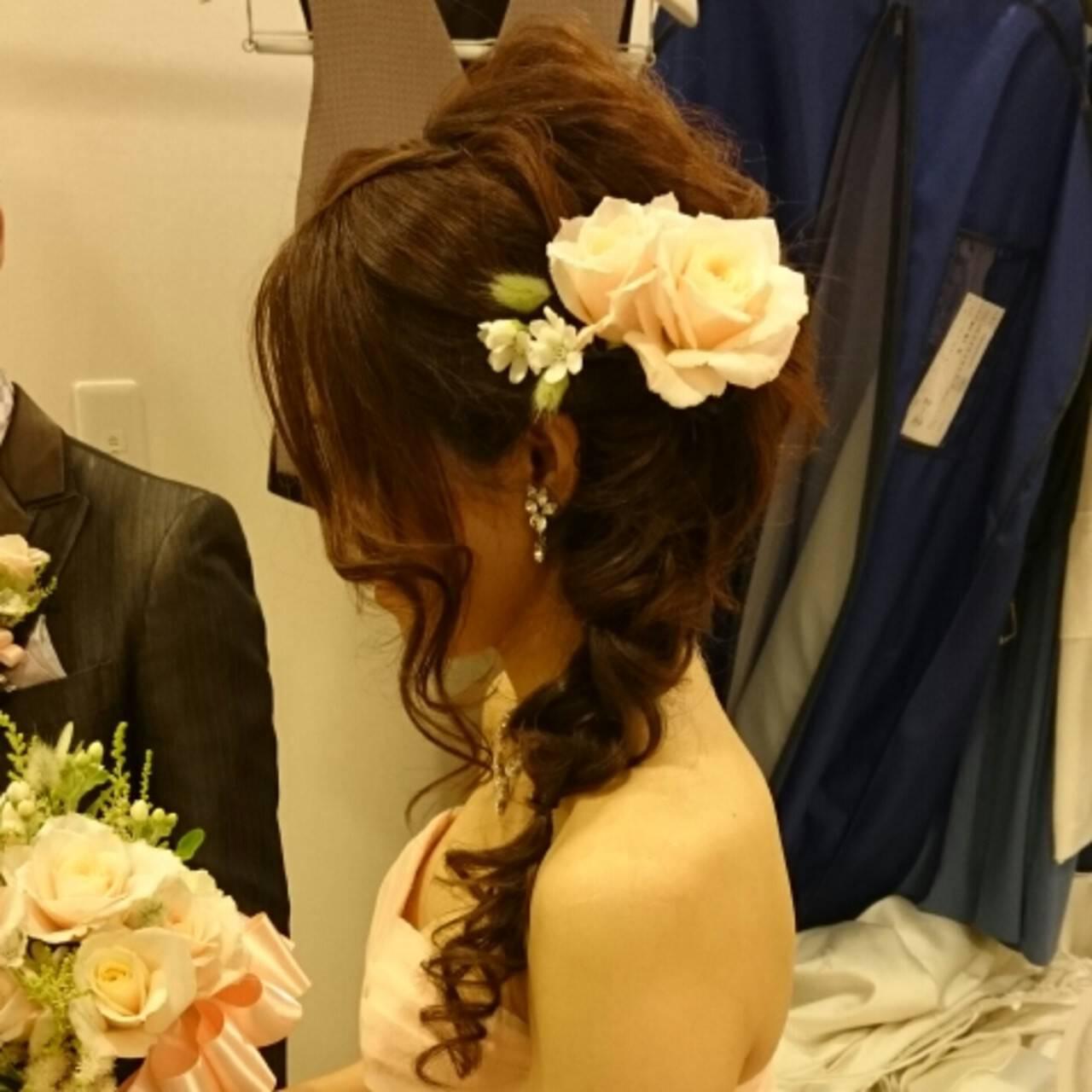 ミディアム 結婚式 ヘアアレンジ ブライダルヘアスタイルや髪型の写真・画像