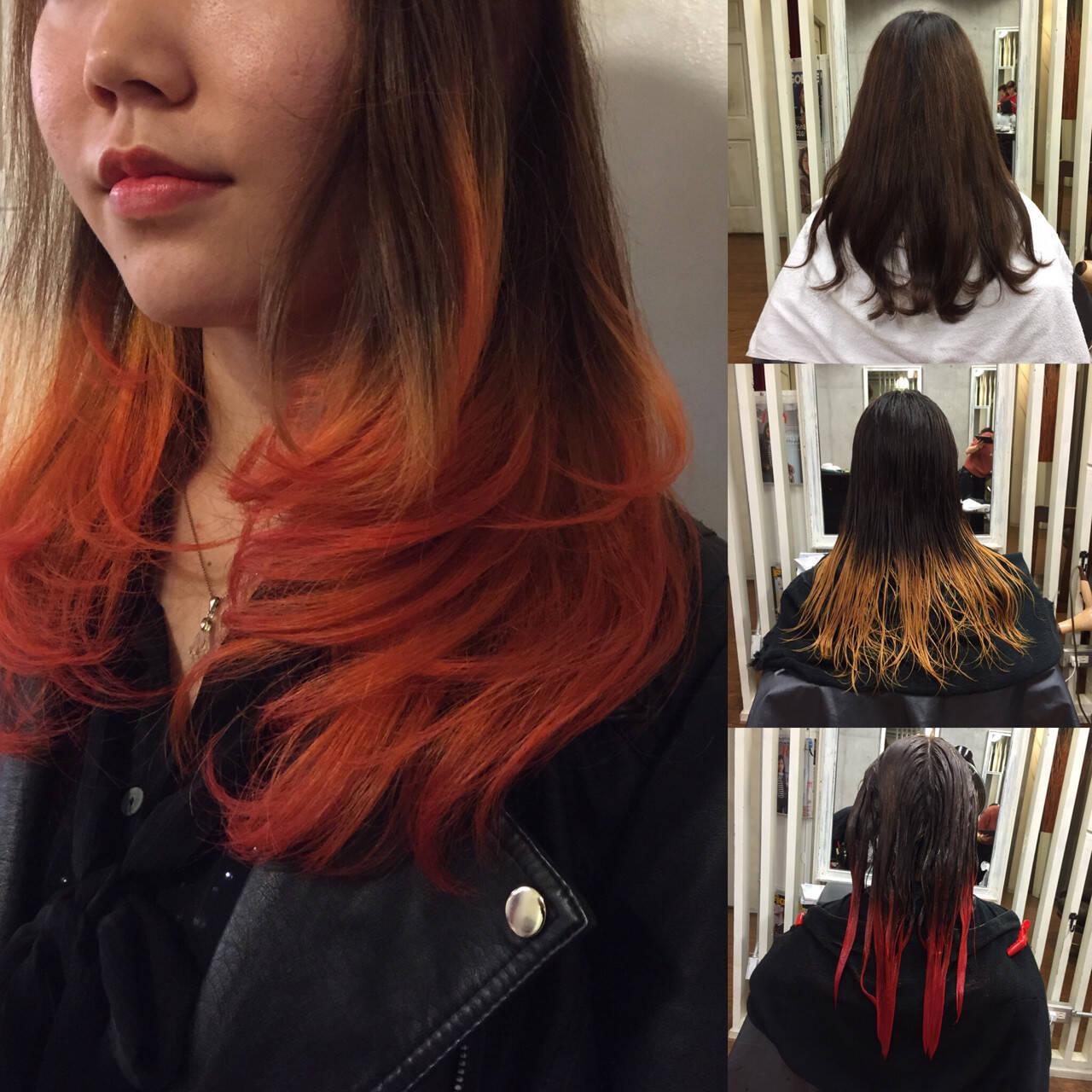 セミロング ハーフアップ アッシュ グラデーションカラーヘアスタイルや髪型の写真・画像