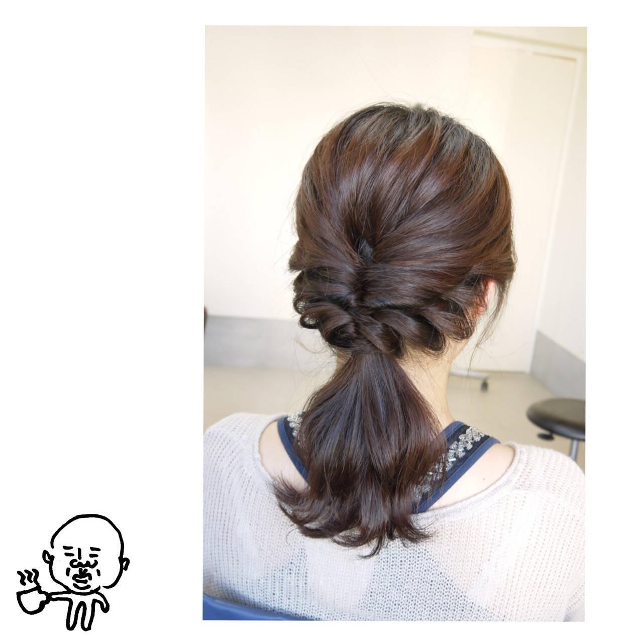 ポニーテール ヘアアレンジ セミロング 簡単ヘアスタイルや髪型の写真・画像