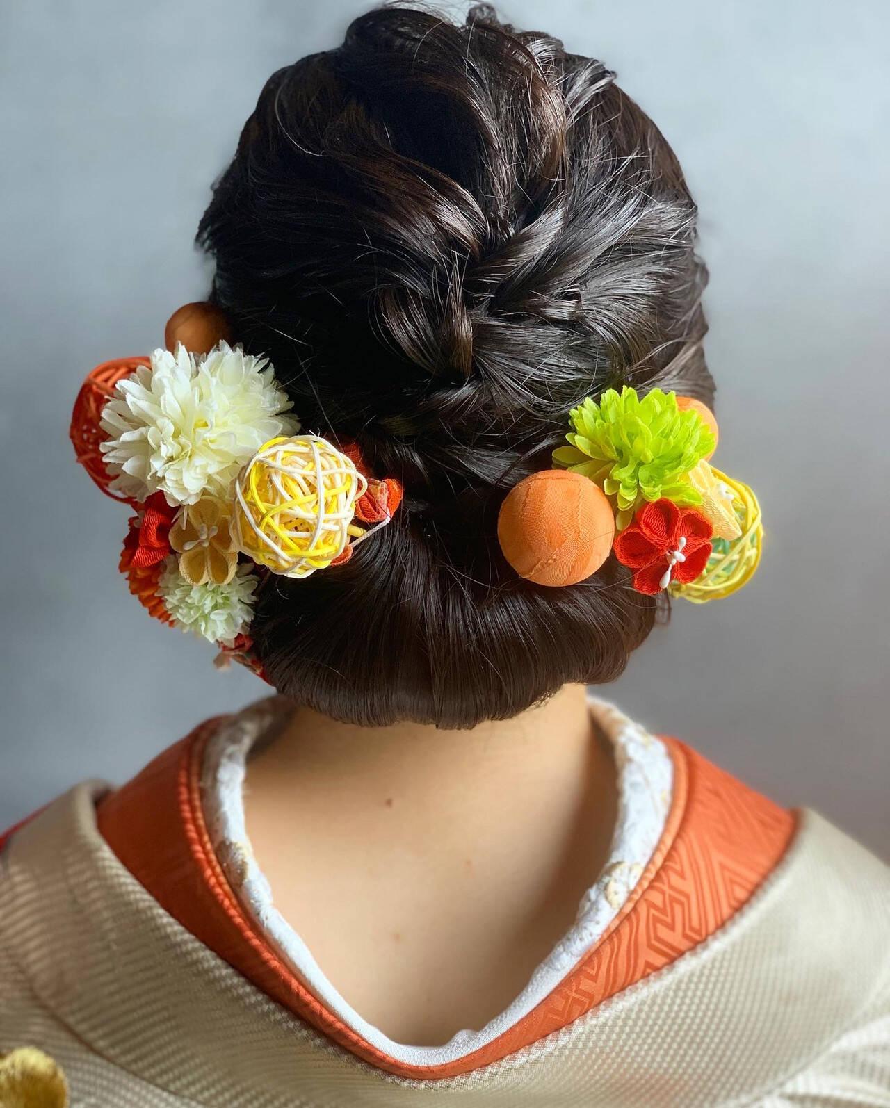 成人式ヘアメイク着付け まとめ髪 結婚式ヘアアレンジ セミロングヘアスタイルや髪型の写真・画像