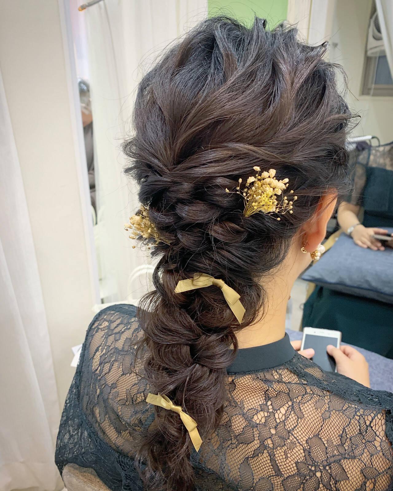 ロング ヘアアレンジ 編みおろしヘア 結婚式ヘアアレンジヘアスタイルや髪型の写真・画像