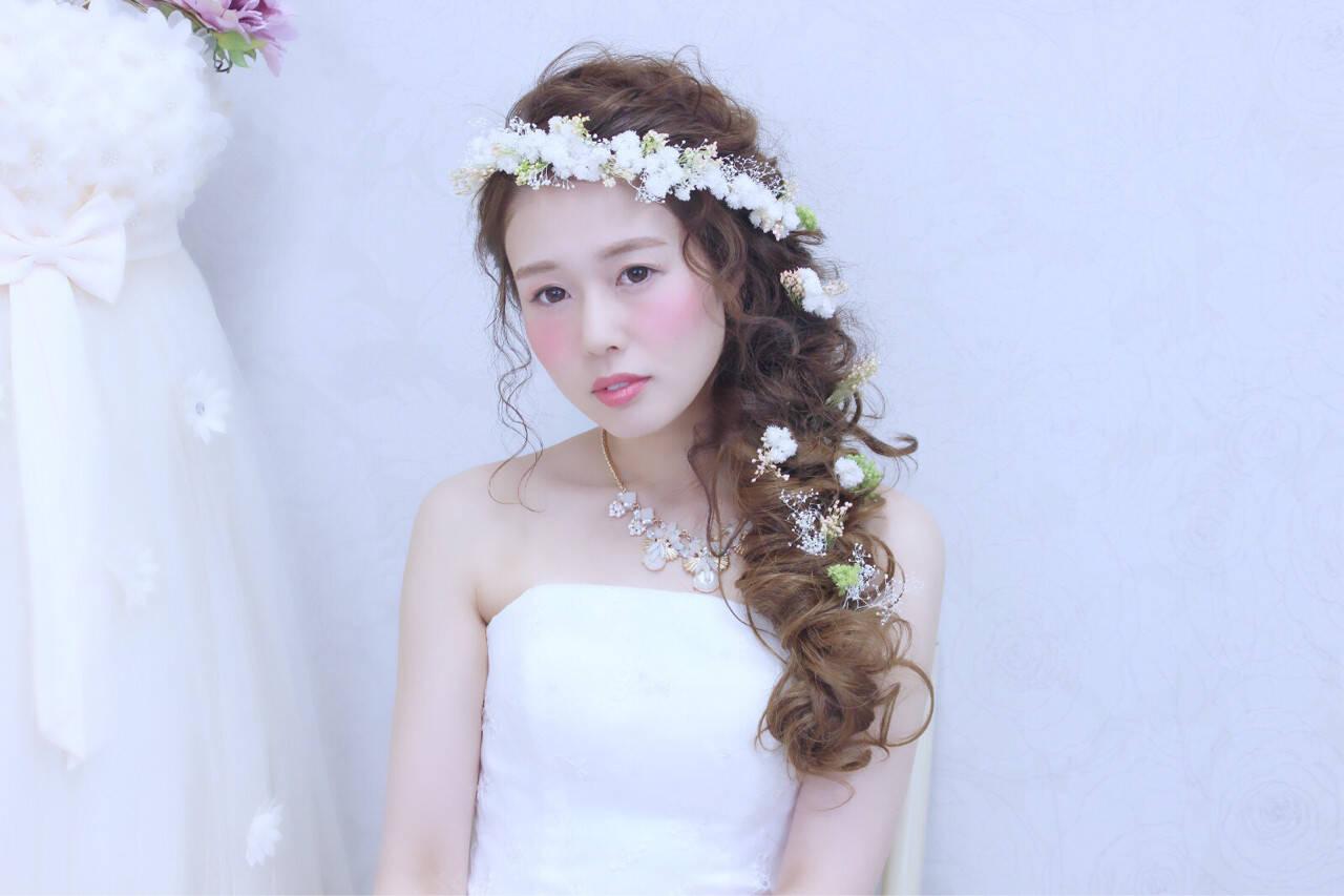 花嫁 ハーフアップ ロング ヘアアレンジヘアスタイルや髪型の写真・画像