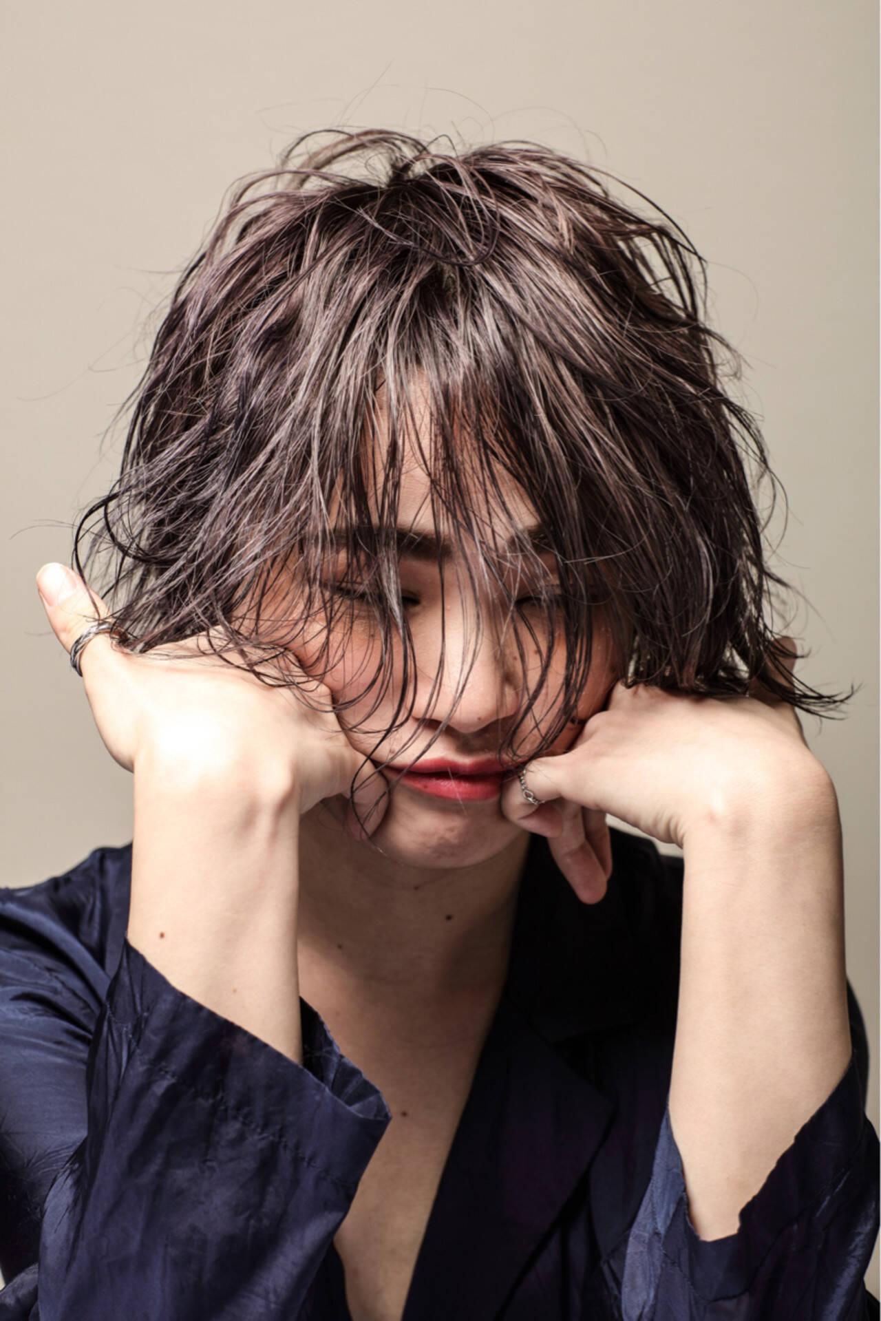 モード 艶髪 抜け感 ウェットヘアヘアスタイルや髪型の写真・画像