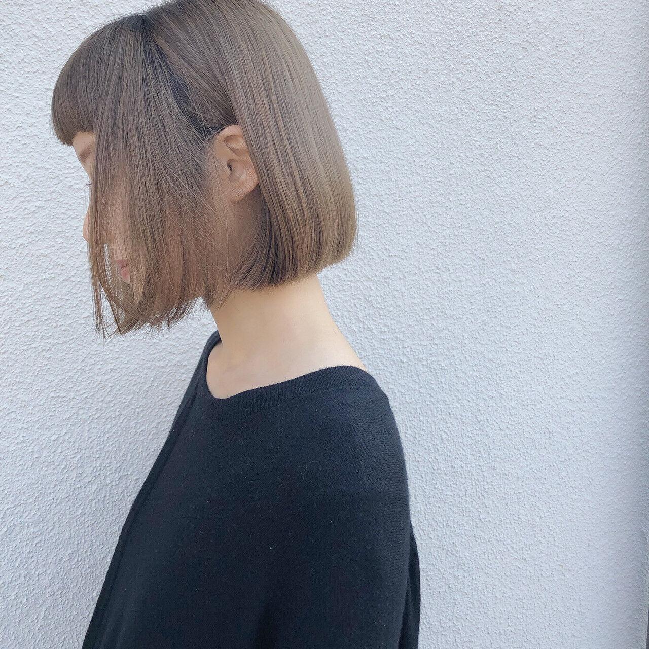 デート ミニボブ ナチュラル ヘアカラーヘアスタイルや髪型の写真・画像