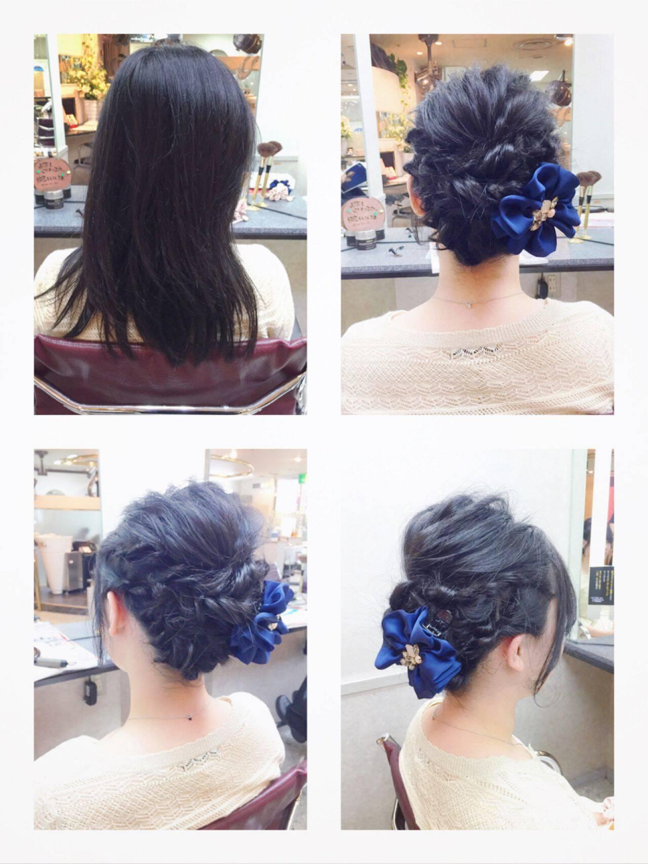 簡単ヘアアレンジ ツイスト 編み込み ショートヘアスタイルや髪型の写真・画像