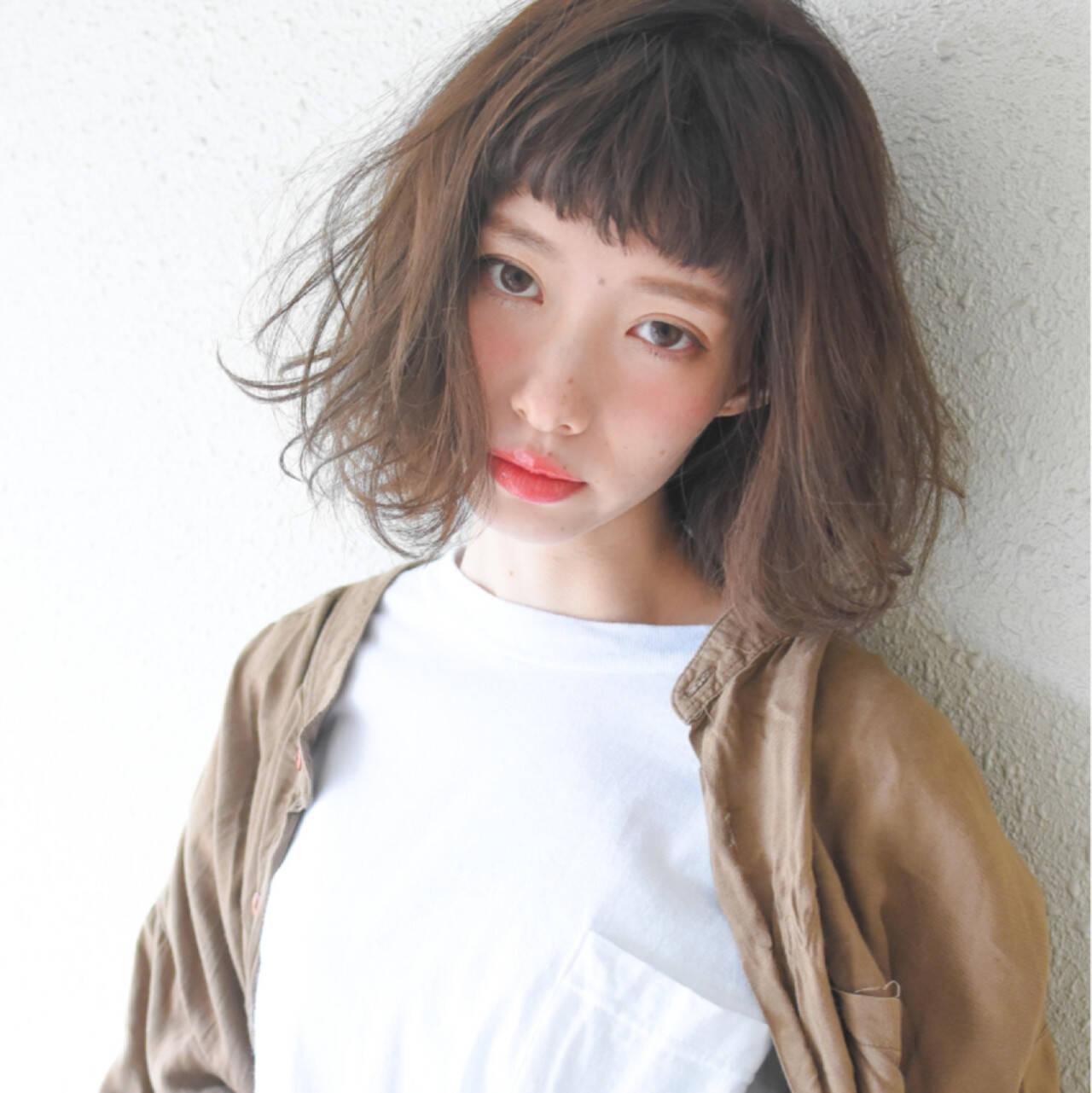 色気 ハイライト フェミニン 前髪ありヘアスタイルや髪型の写真・画像