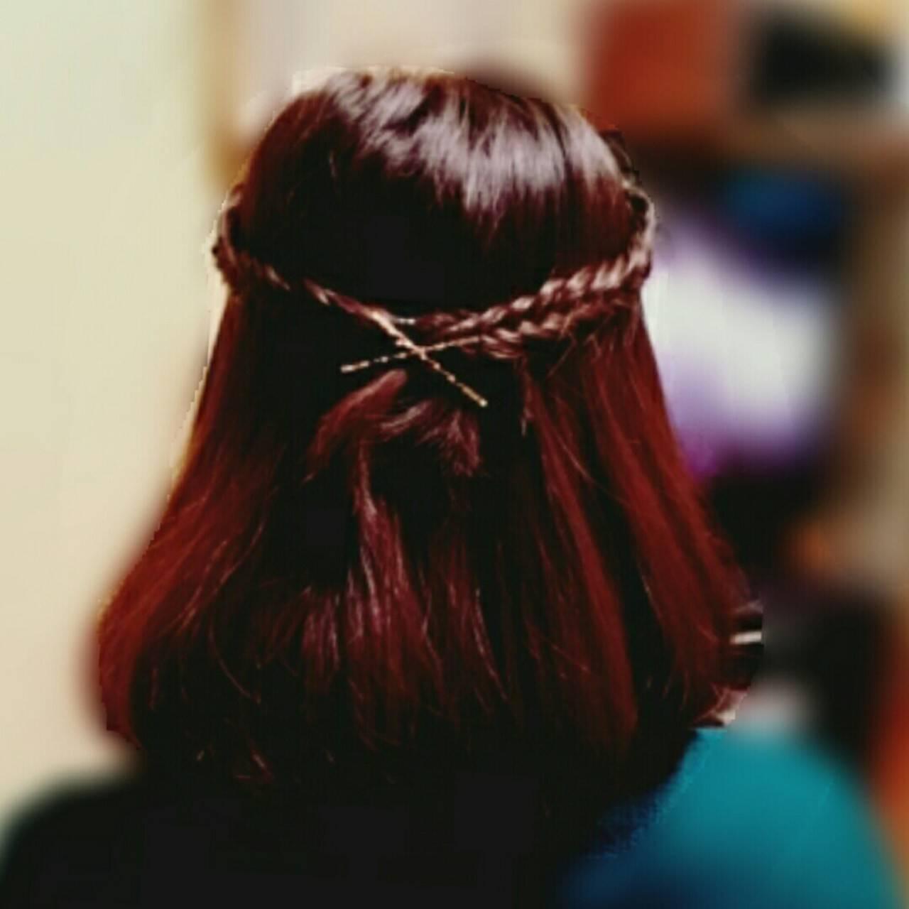 ハーフアップ 簡単ヘアアレンジ ヘアアレンジ ガーリーヘアスタイルや髪型の写真・画像