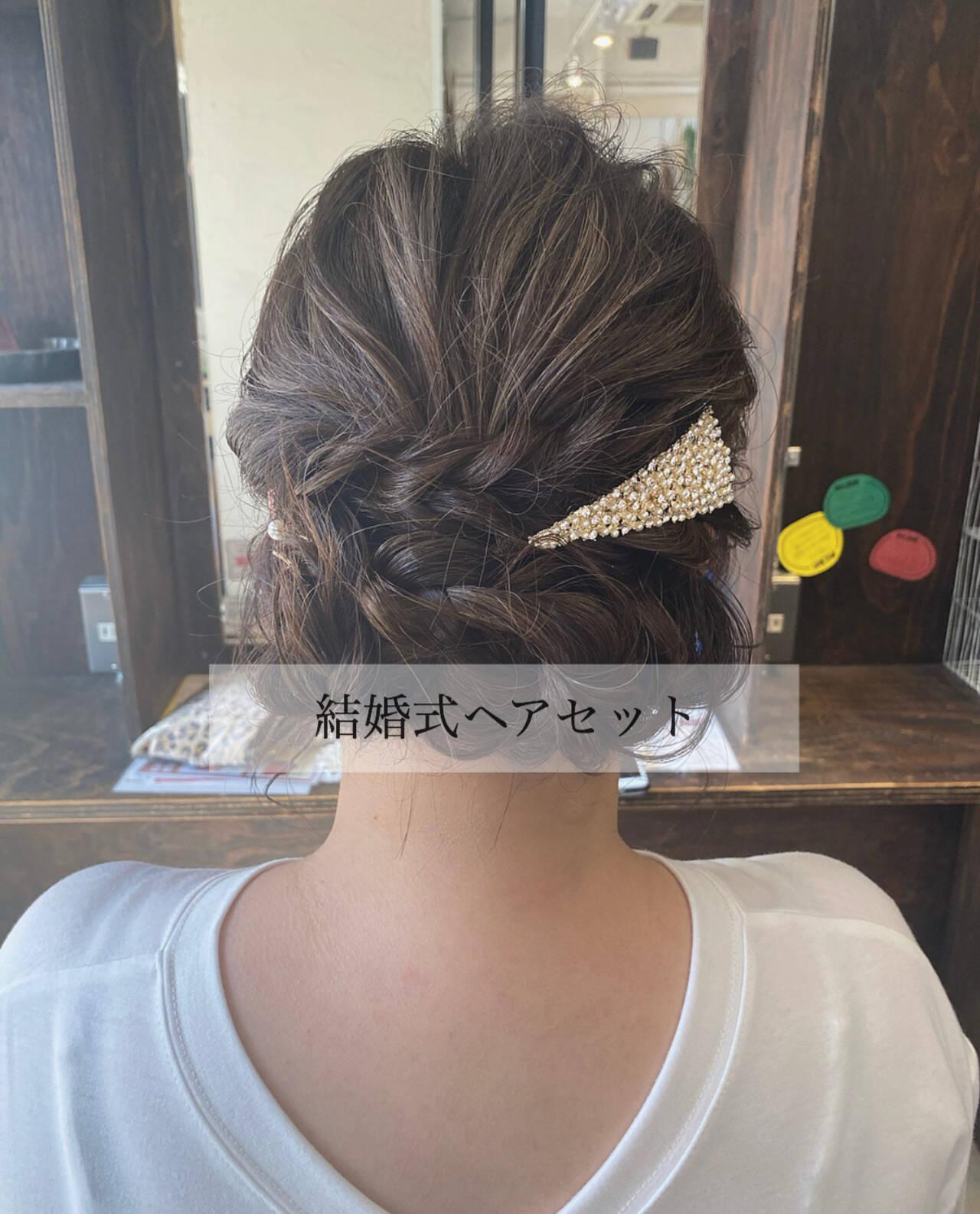 ヘアアレンジ 結婚式ヘアアレンジ 編み込みヘア 編み込みヘアスタイルや髪型の写真・画像