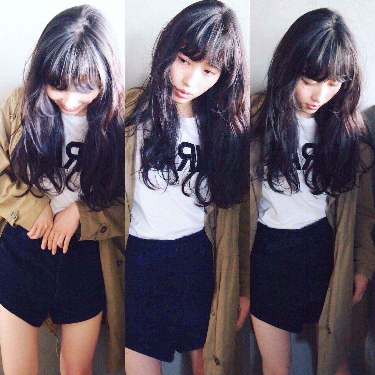 暗髪 黒髪 レイヤーカット ロングヘアスタイルや髪型の写真・画像