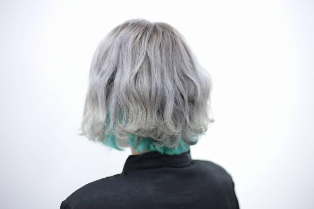 ハイトーン ストリート ブリーチ インナーカラーヘアスタイルや髪型の写真・画像