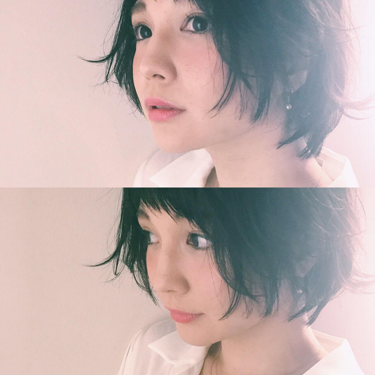 小顔 ベビーバング かわいい ショートバングヘアスタイルや髪型の写真・画像