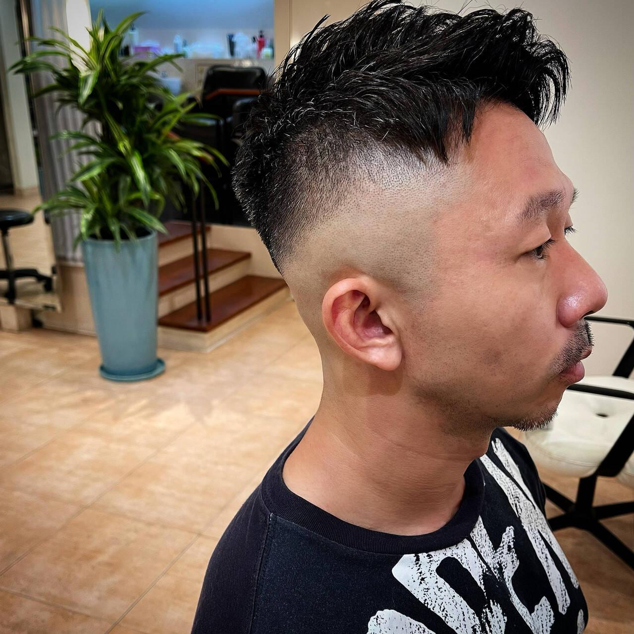 ツーブロック メンズ 刈り上げ スキンフェードヘアスタイルや髪型の写真・画像