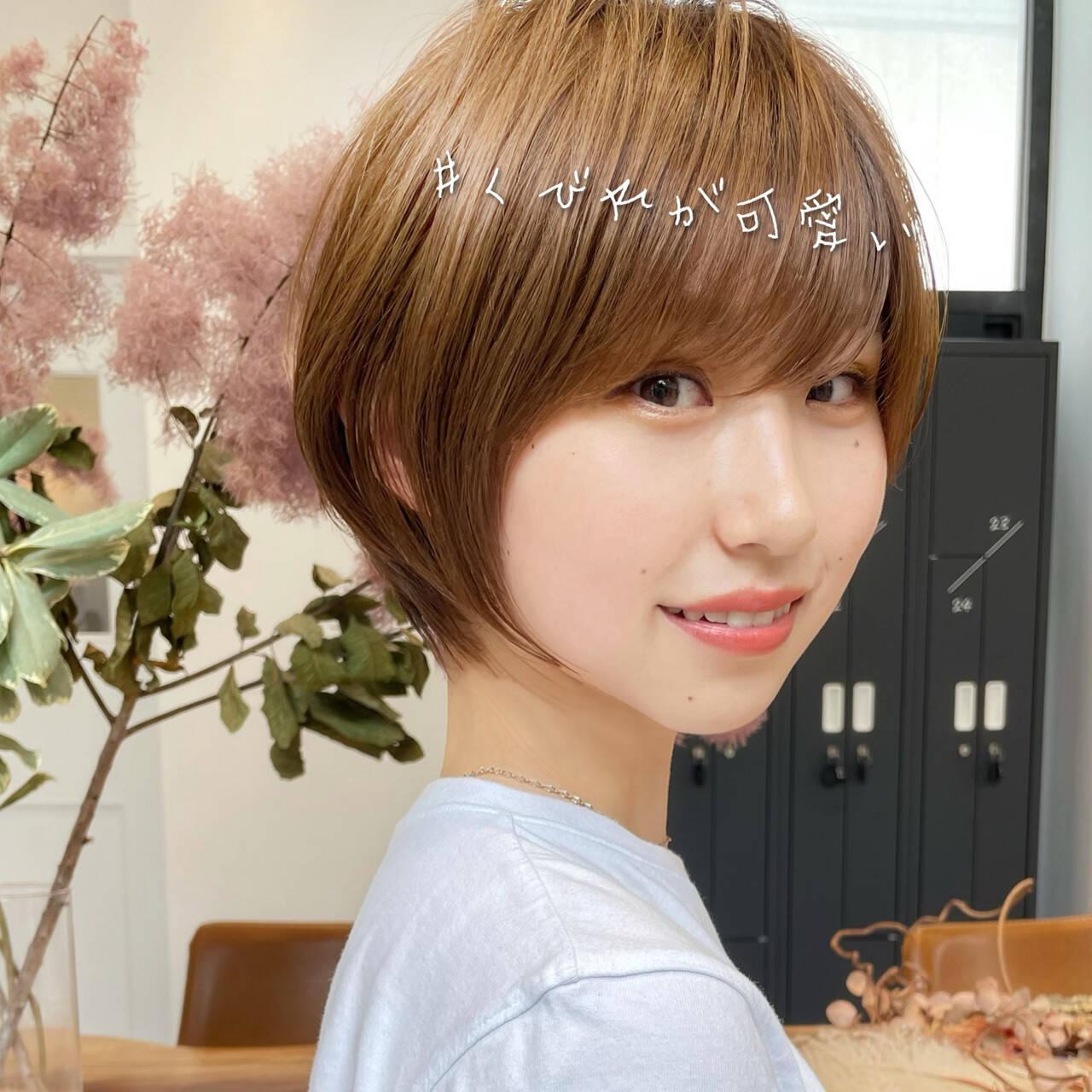 ショートボブ ショート ナチュラル インナーカラーヘアスタイルや髪型の写真・画像