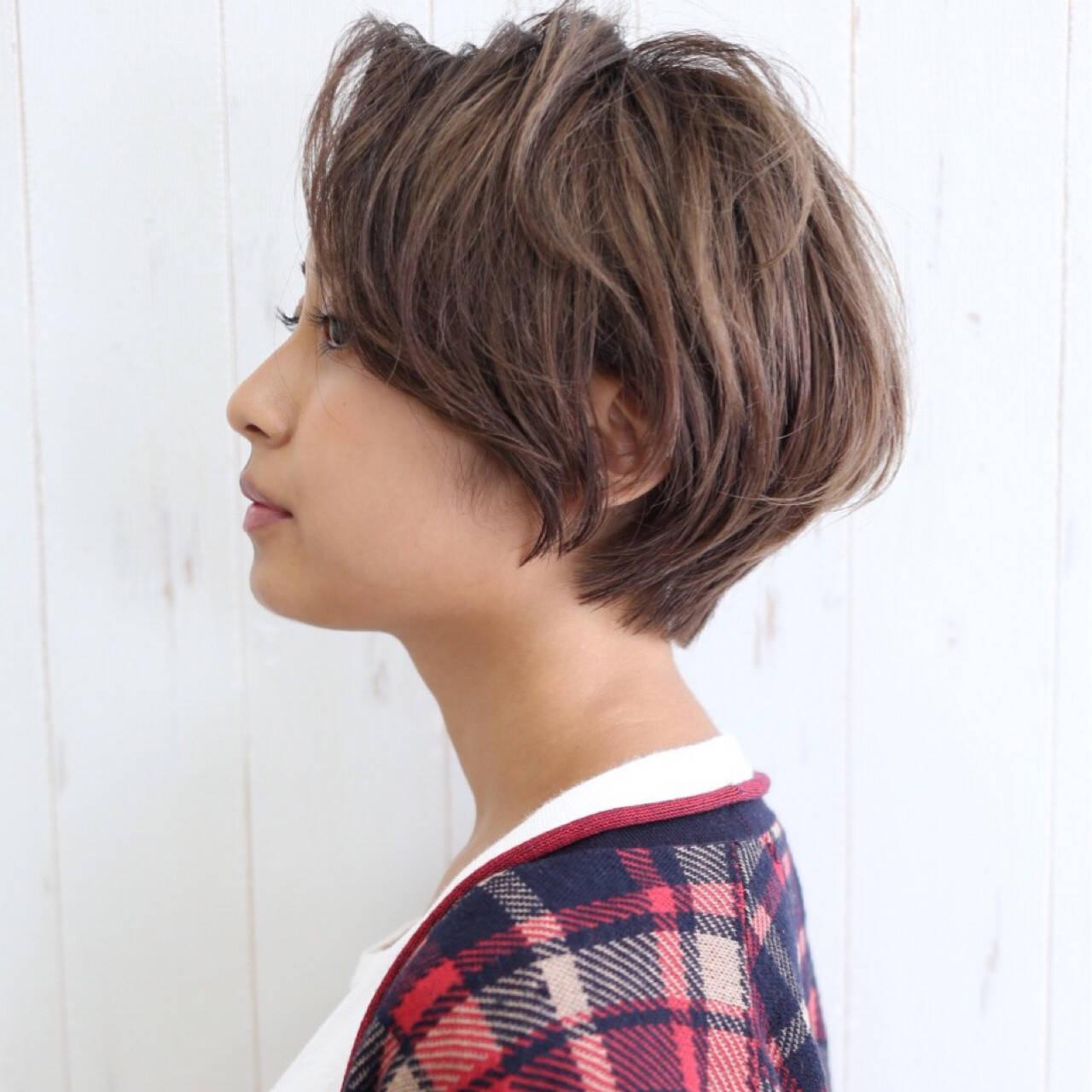 ショート サイドアップ 大人女子 小顔ヘアスタイルや髪型の写真・画像