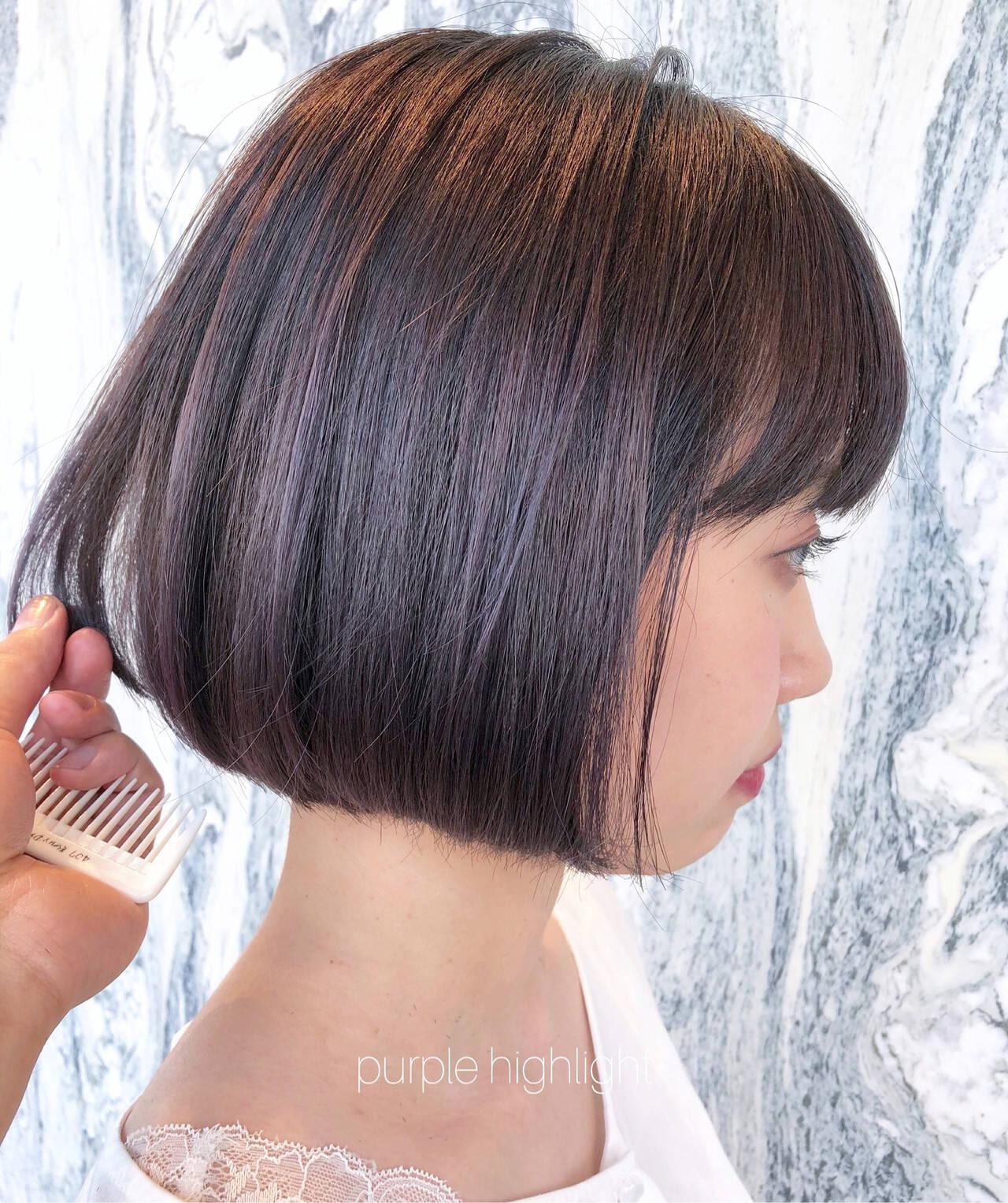 ラベンダーアッシュ パープルアッシュ ナチュラル ラベンダーカラーヘアスタイルや髪型の写真・画像