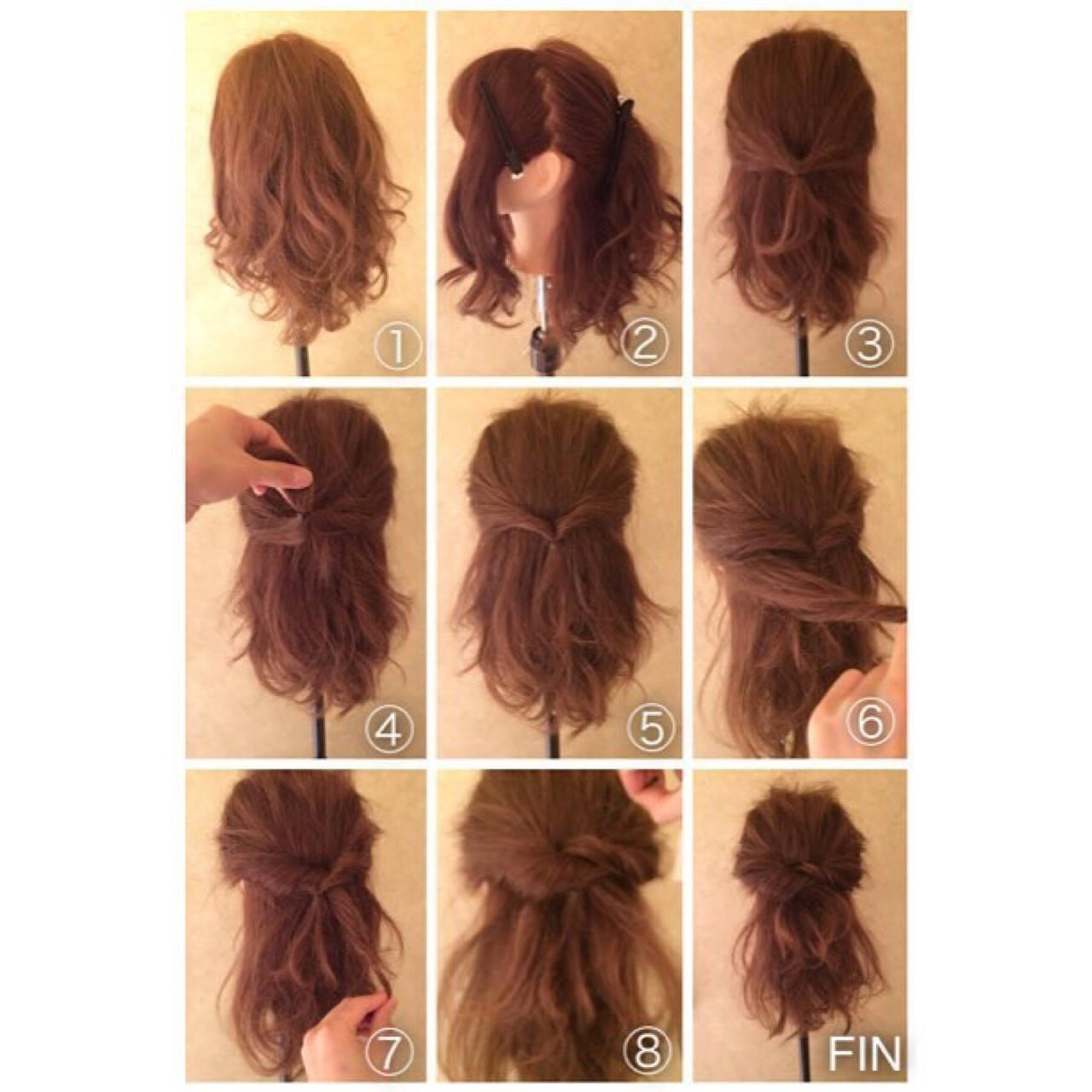 ロング ショート くるりんぱ 簡単ヘアアレンジヘアスタイルや髪型の写真・画像