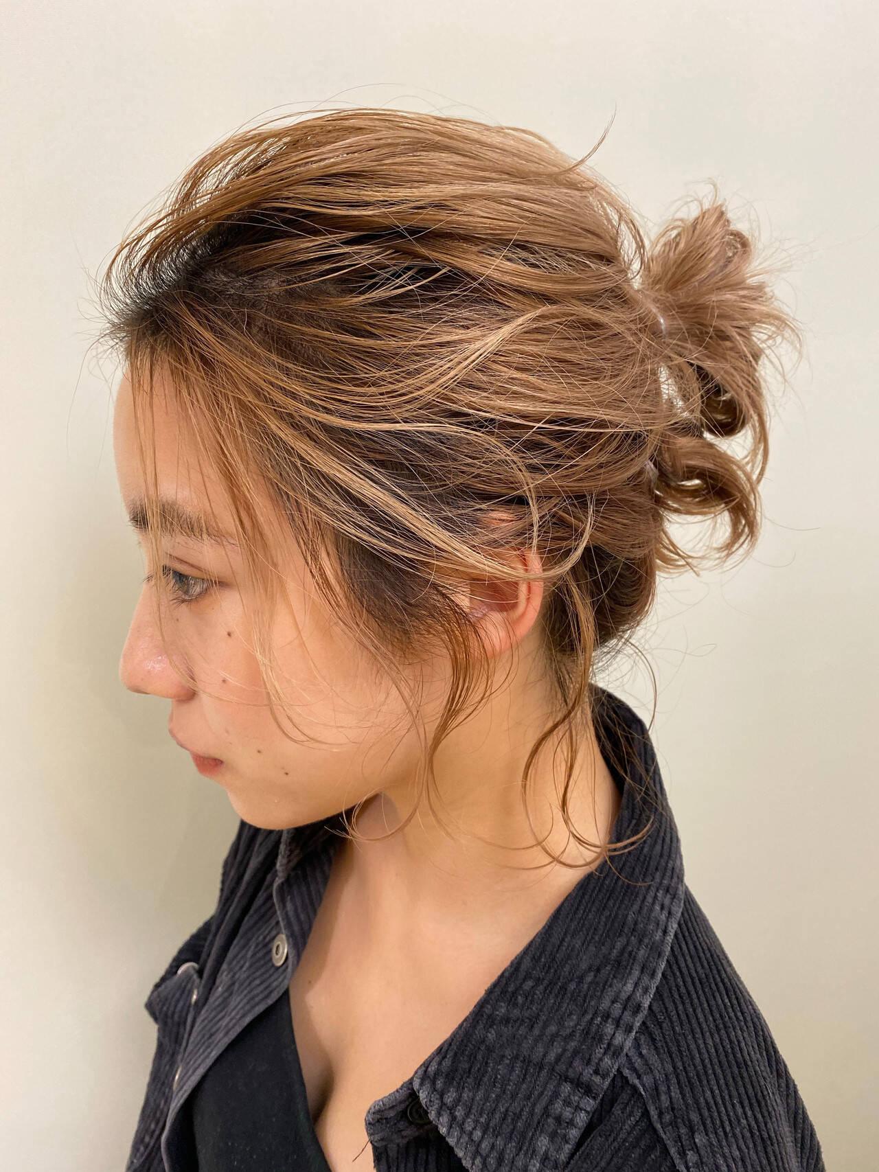 ナチュラル ミニボブ 簡単ヘアアレンジ ヘアアレンジヘアスタイルや髪型の写真・画像