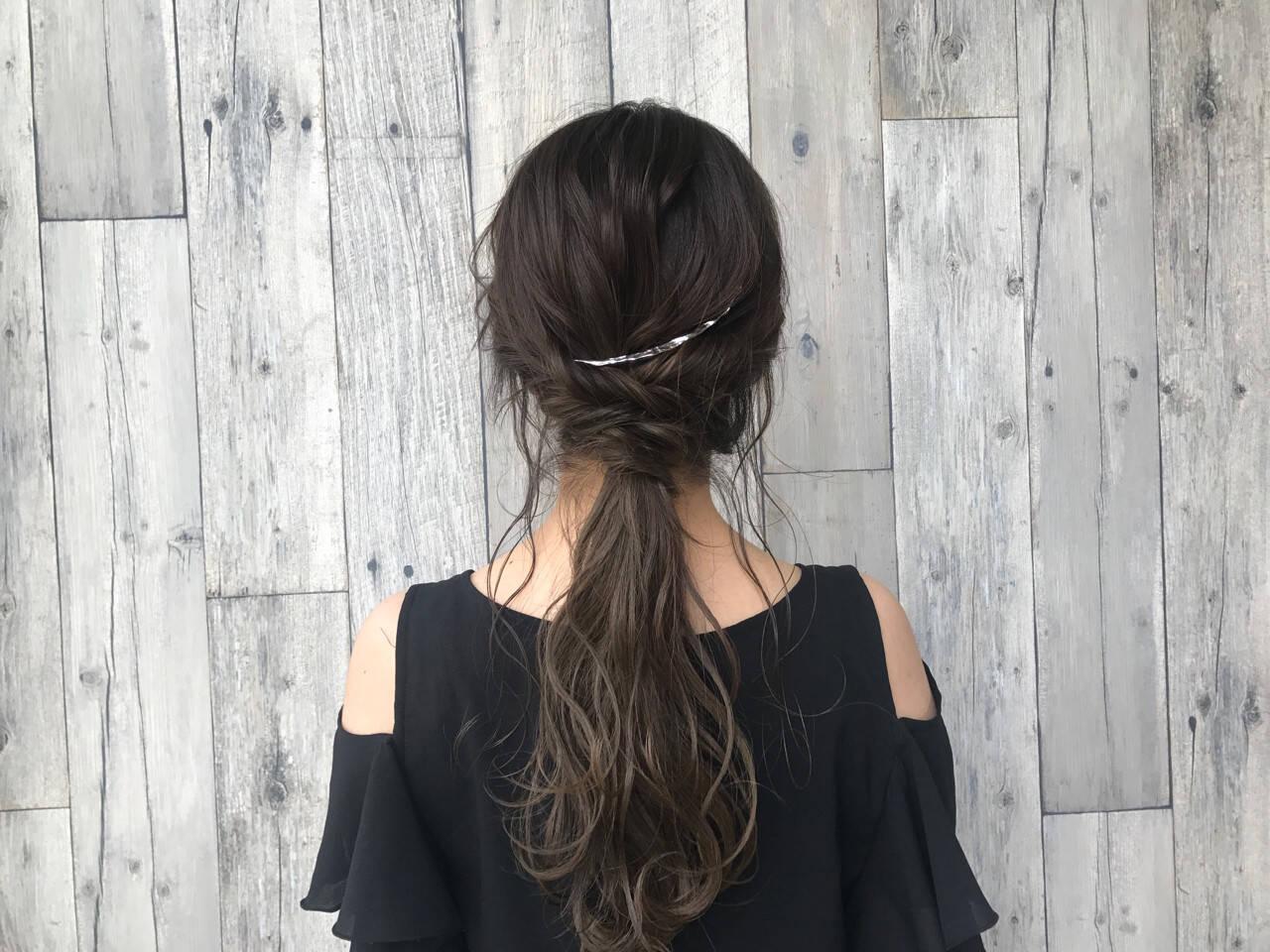 ロング ヘアアレンジ アウトドア 色気ヘアスタイルや髪型の写真・画像