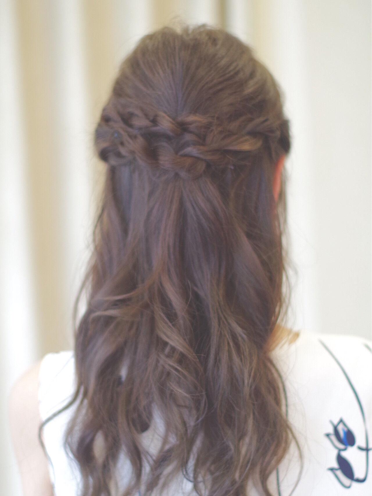 ハーフアップ ロング パーティ 結婚式ヘアスタイルや髪型の写真・画像